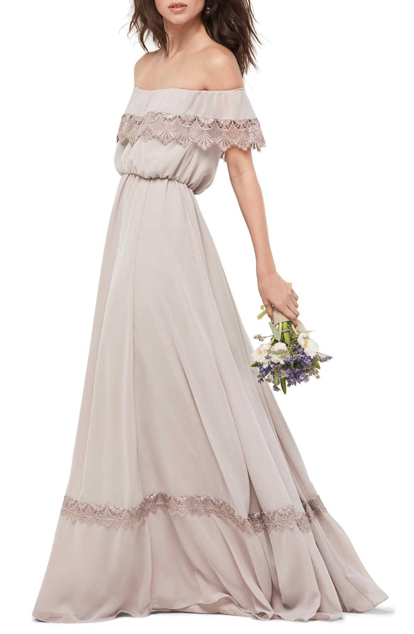 Inna Off the Shoulder Chiffon Blouson Gown,                         Main,                         color, 260