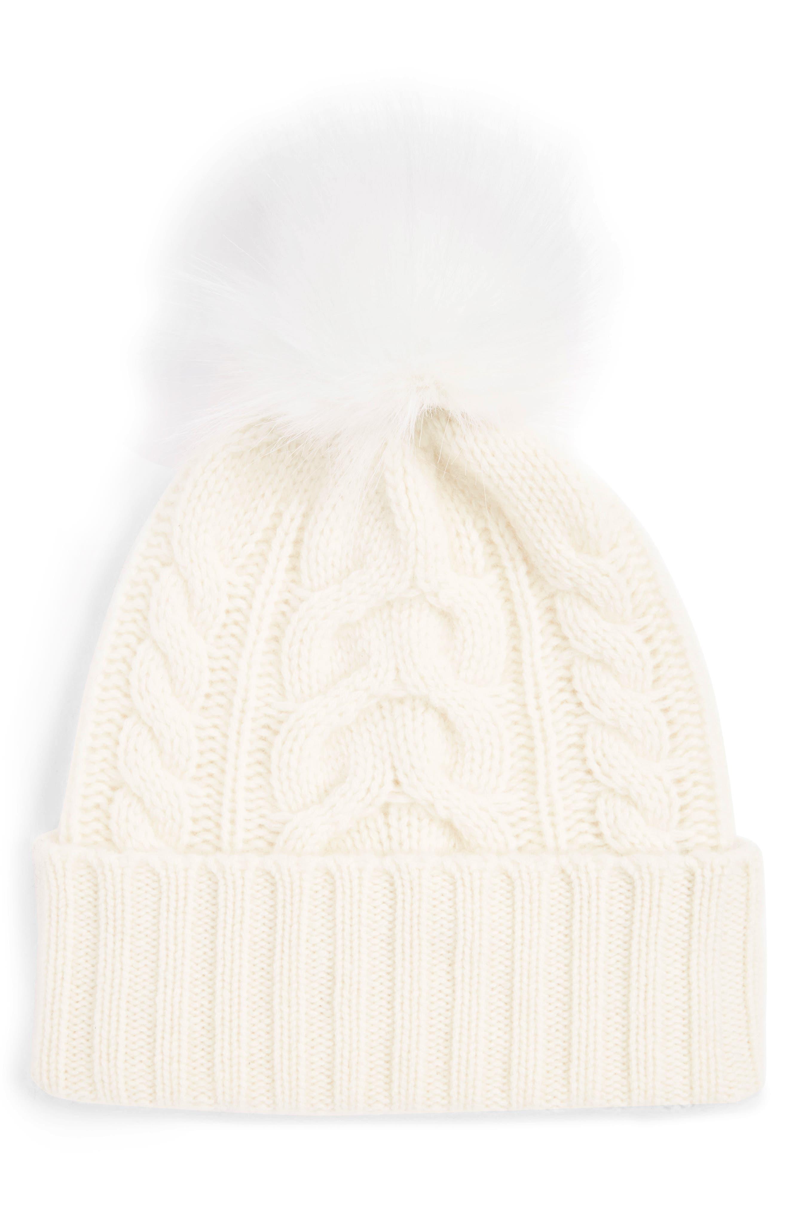 Cashmere Cable Knit Beanie with Faux Fur Pom,                         Main,                         color, IVORY EGGNOG