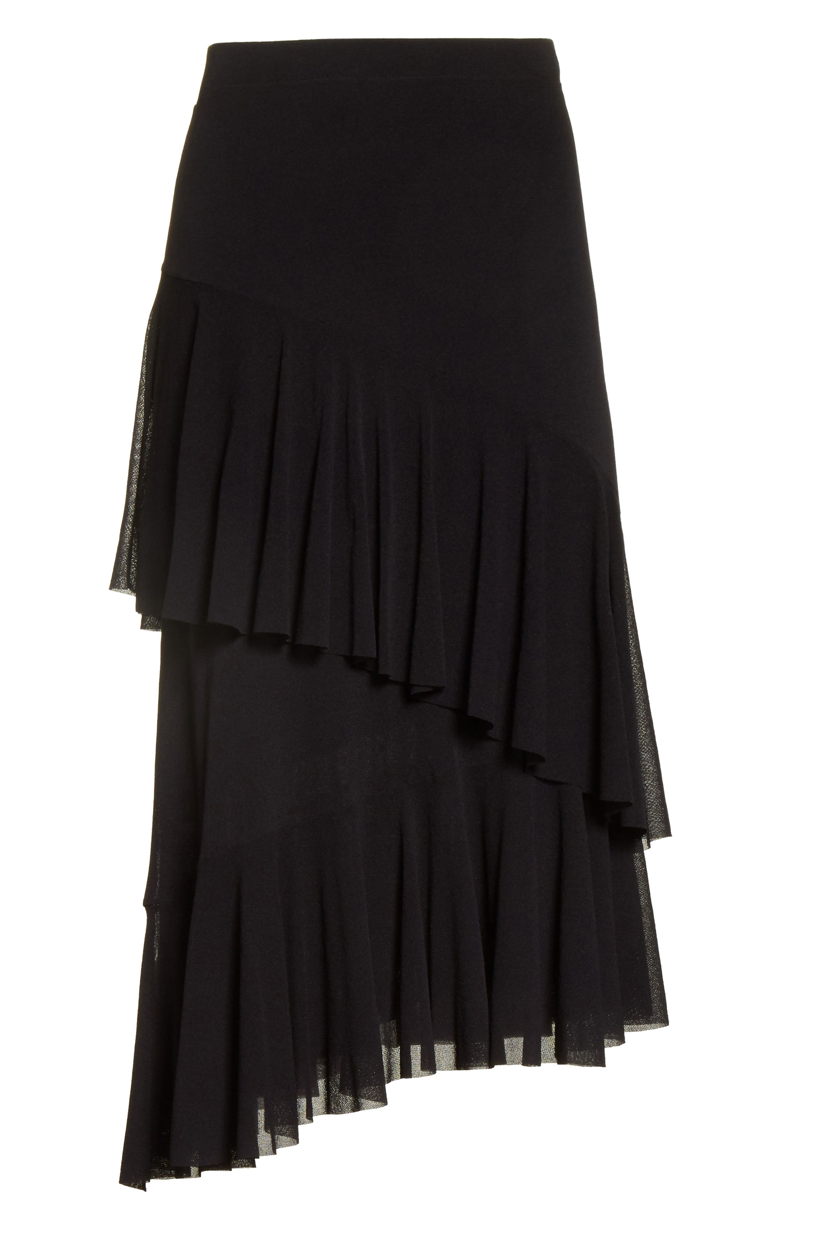 Ruffle Tulle Midi Skirt,                             Alternate thumbnail 6, color,                             NERO