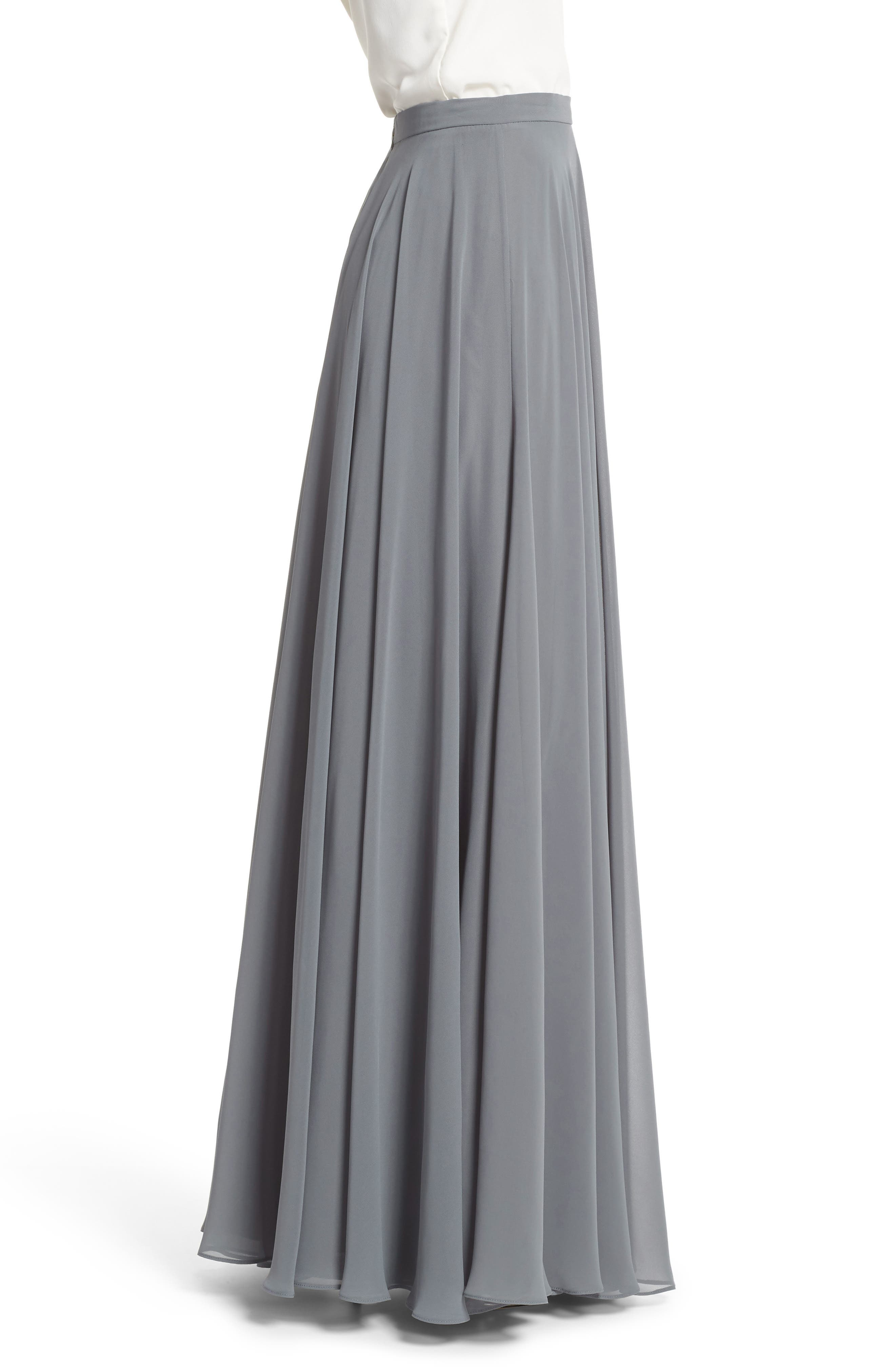 Hampton Long A-Line Chiffon Skirt,                             Alternate thumbnail 3, color,                             DENMARK BLUE