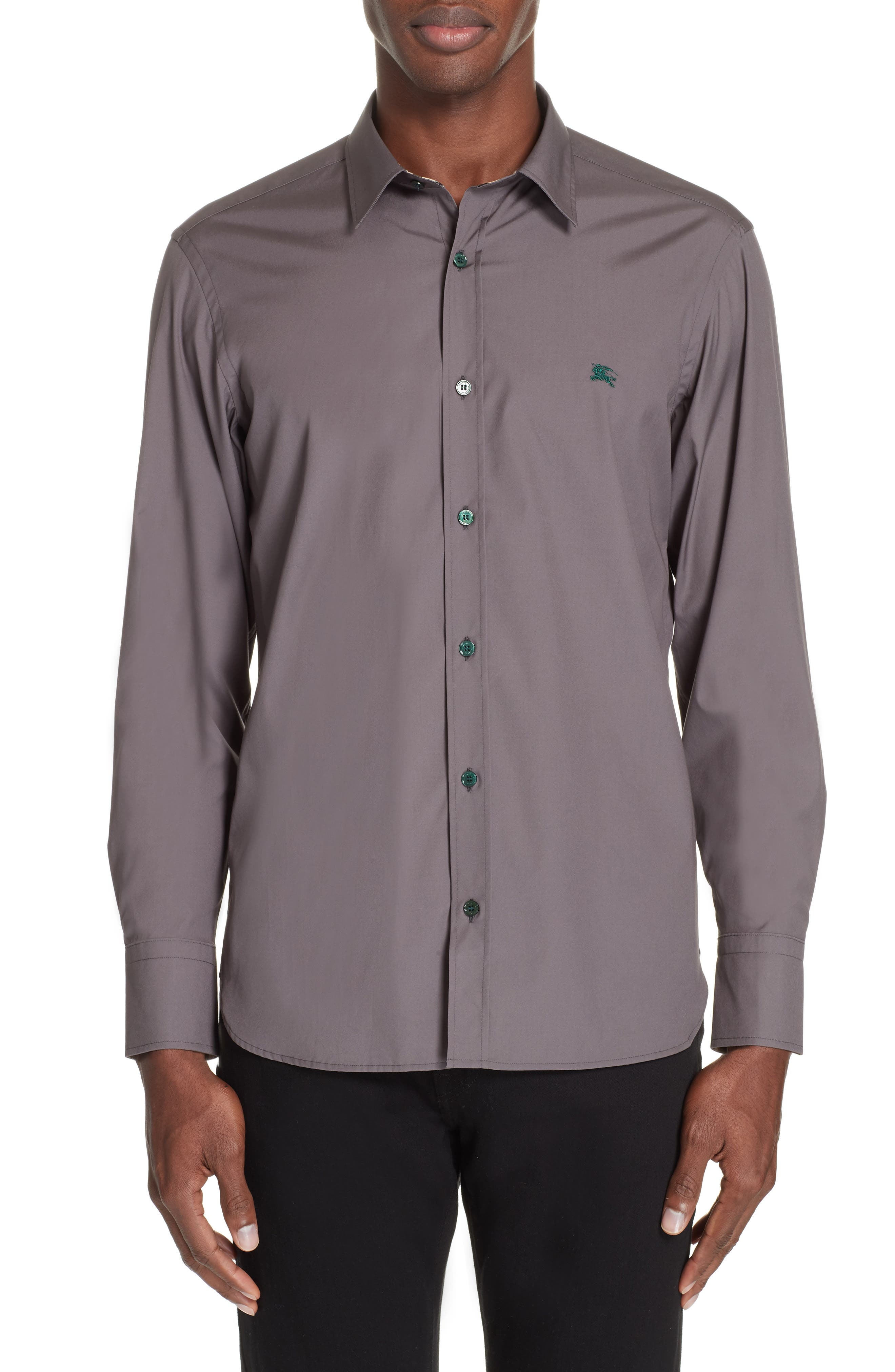 William Woven Sport Shirt,                         Main,                         color, STONE GREY