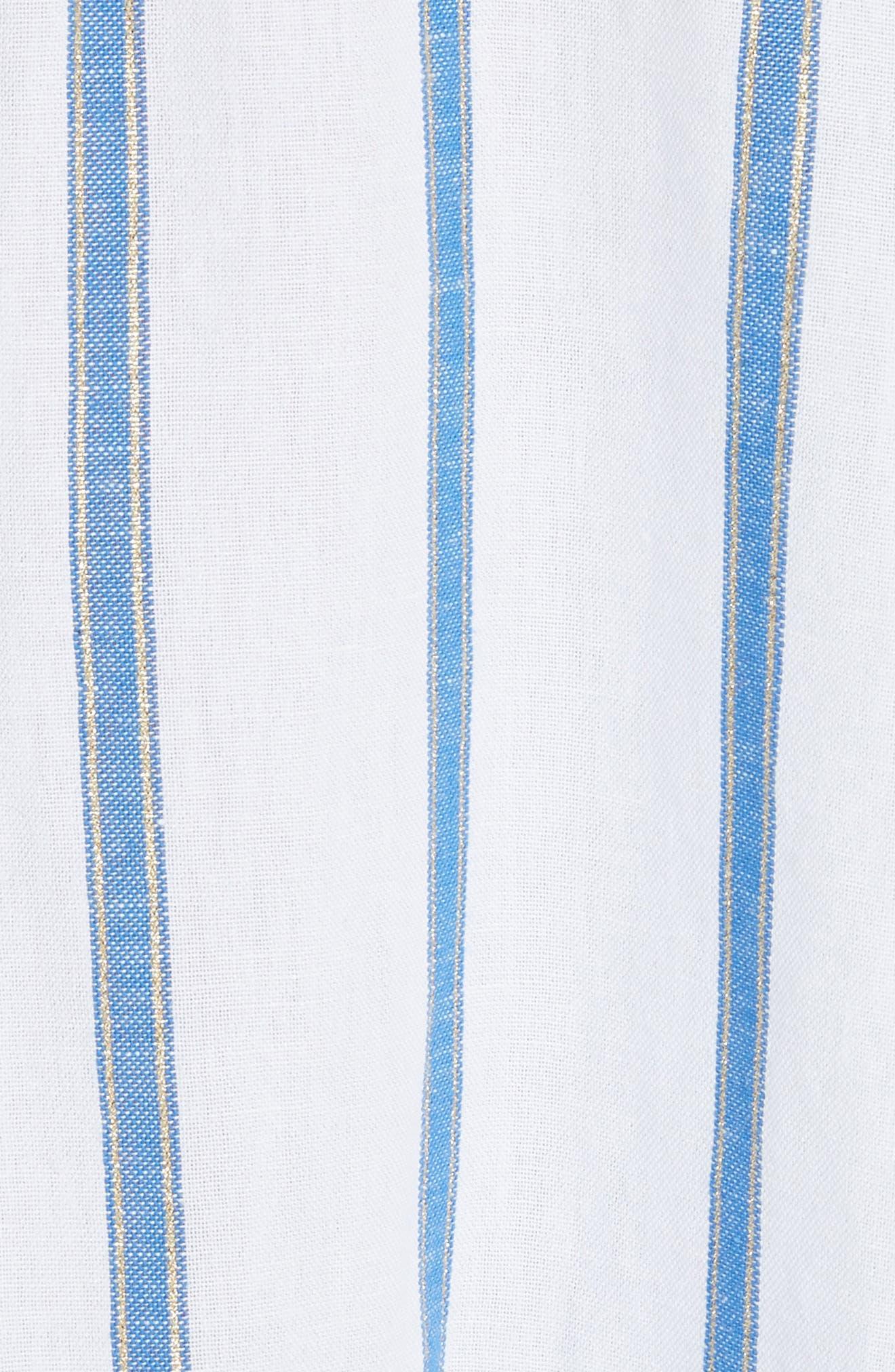 Lyssa Cotton & Linen Blend Dress,                             Alternate thumbnail 5, color,                             WHITE/ BLUE