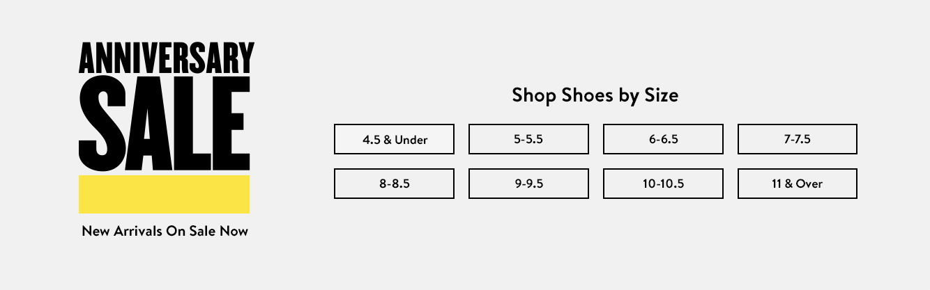 Anniversary Sale: shop women's shoes by size.