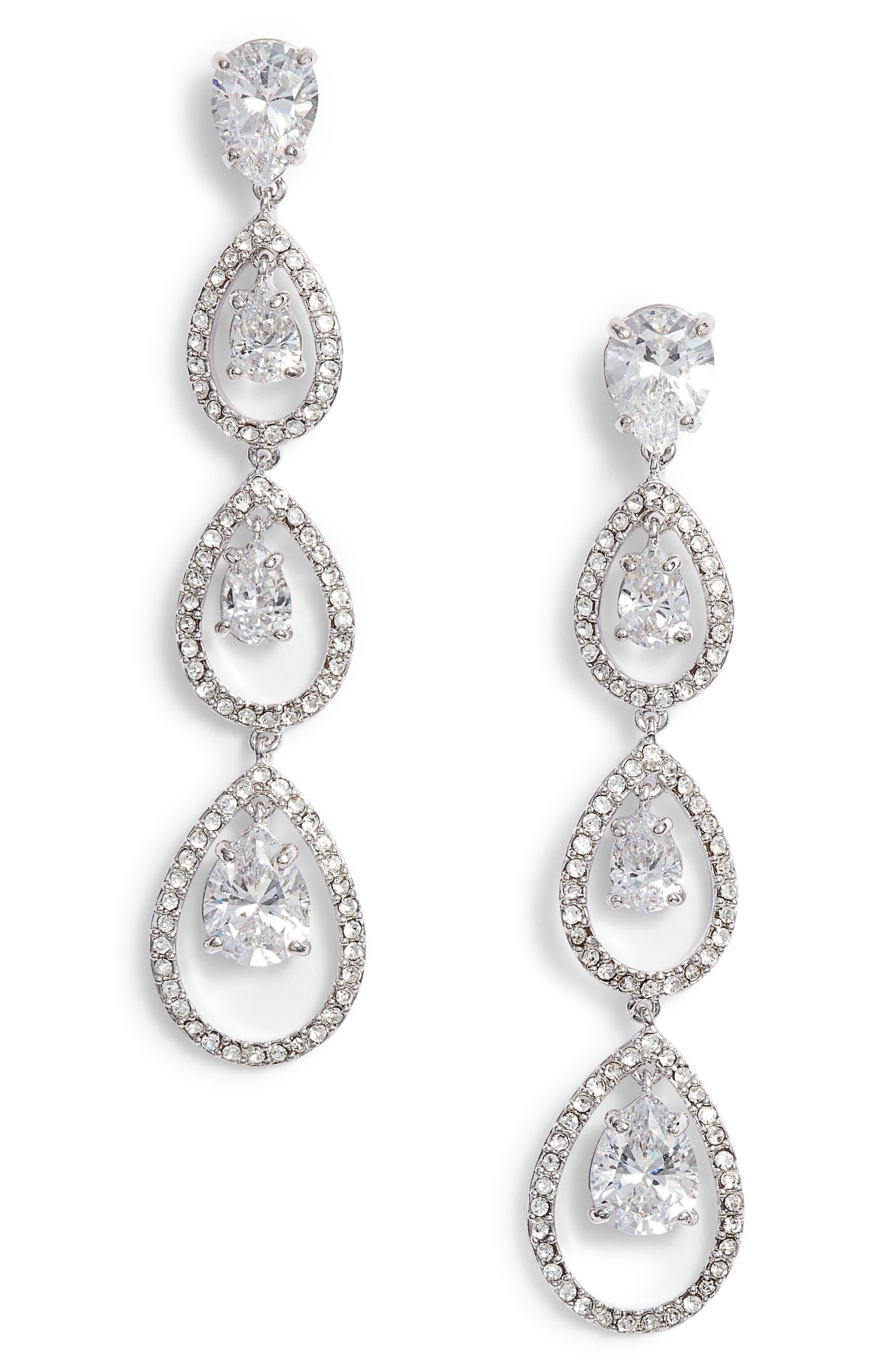 Cubic Zirconia Linear Drop Earrings,                             Main thumbnail 1, color,                             CLEAR- SILVER