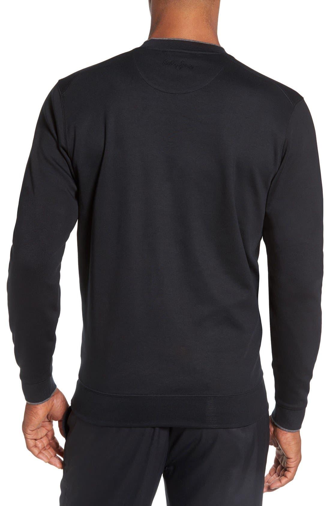 'Walker' Tipped Pima Cotton Long Sleeve T-Shirt,                             Alternate thumbnail 2, color,                             001