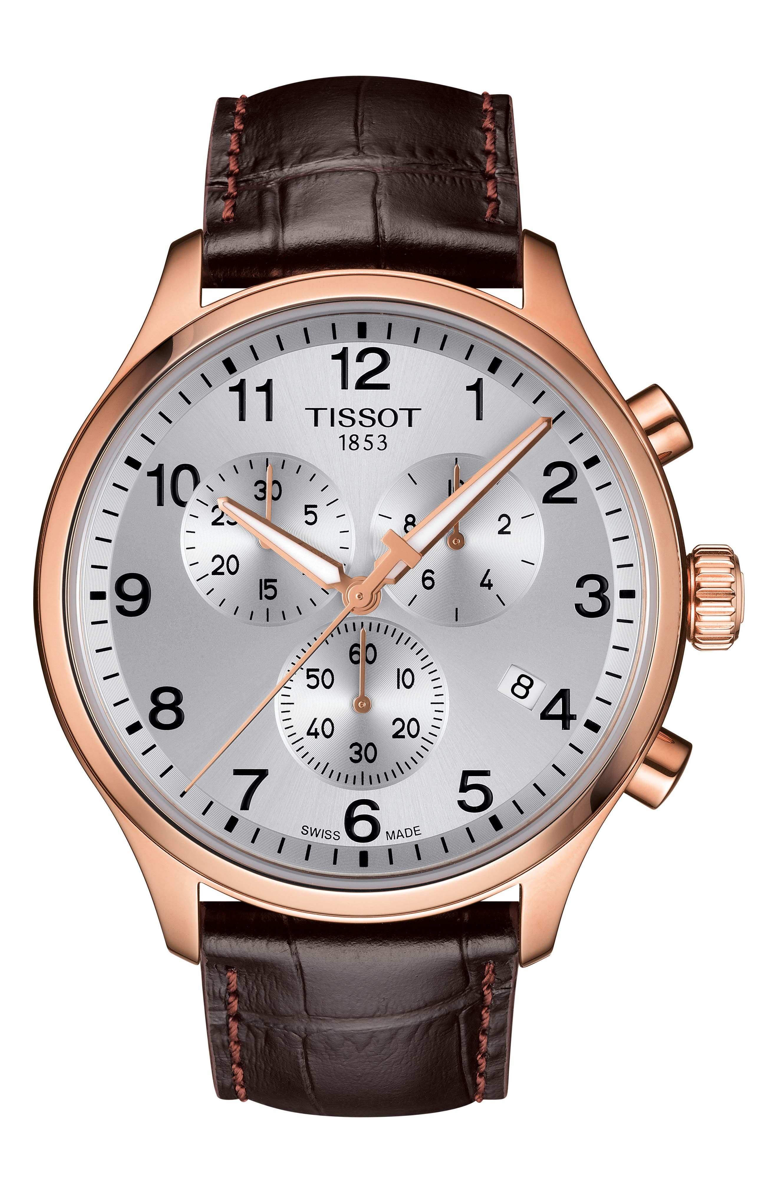 Chrono XL Collection Chronograph Leather Strap Watch, 45mm,                         Main,                         color, BROWN/ SILVER/ ROSE GOLD