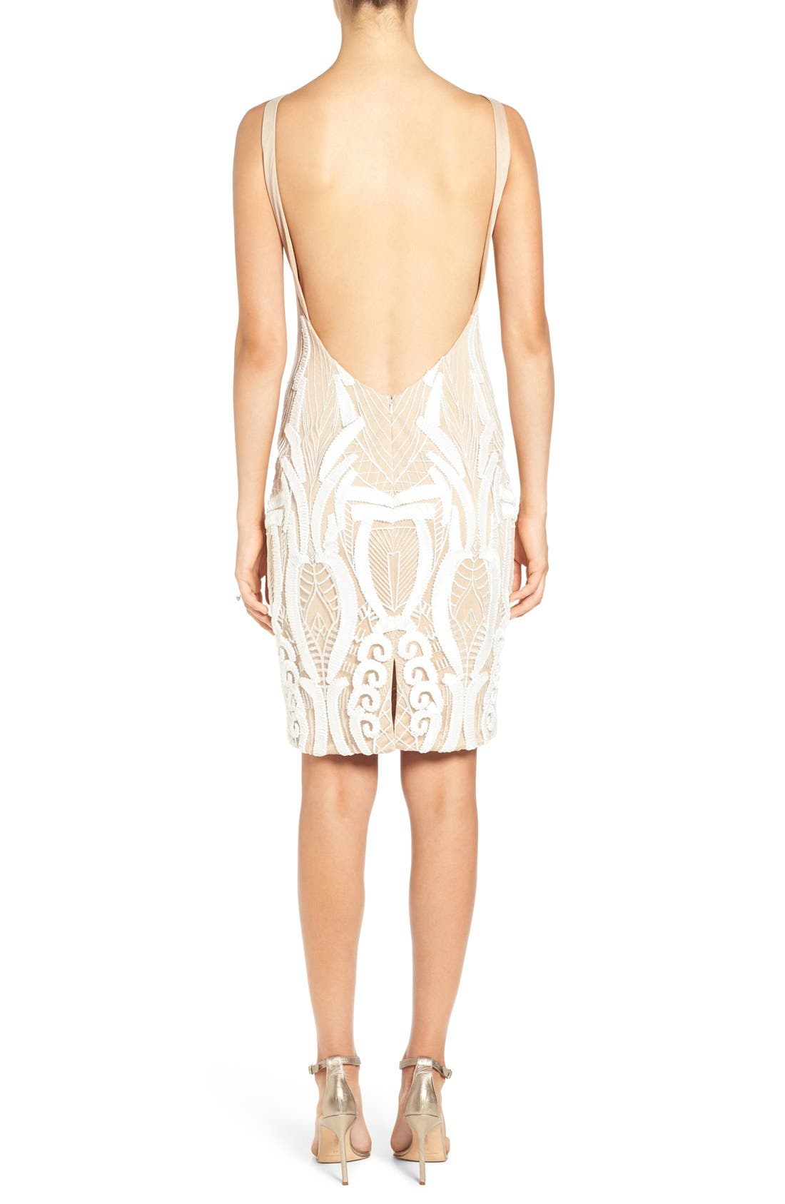'Cara' Backless Ribbon Lace Embroidered Tulle Sheath Dress,                             Alternate thumbnail 2, color,                             901