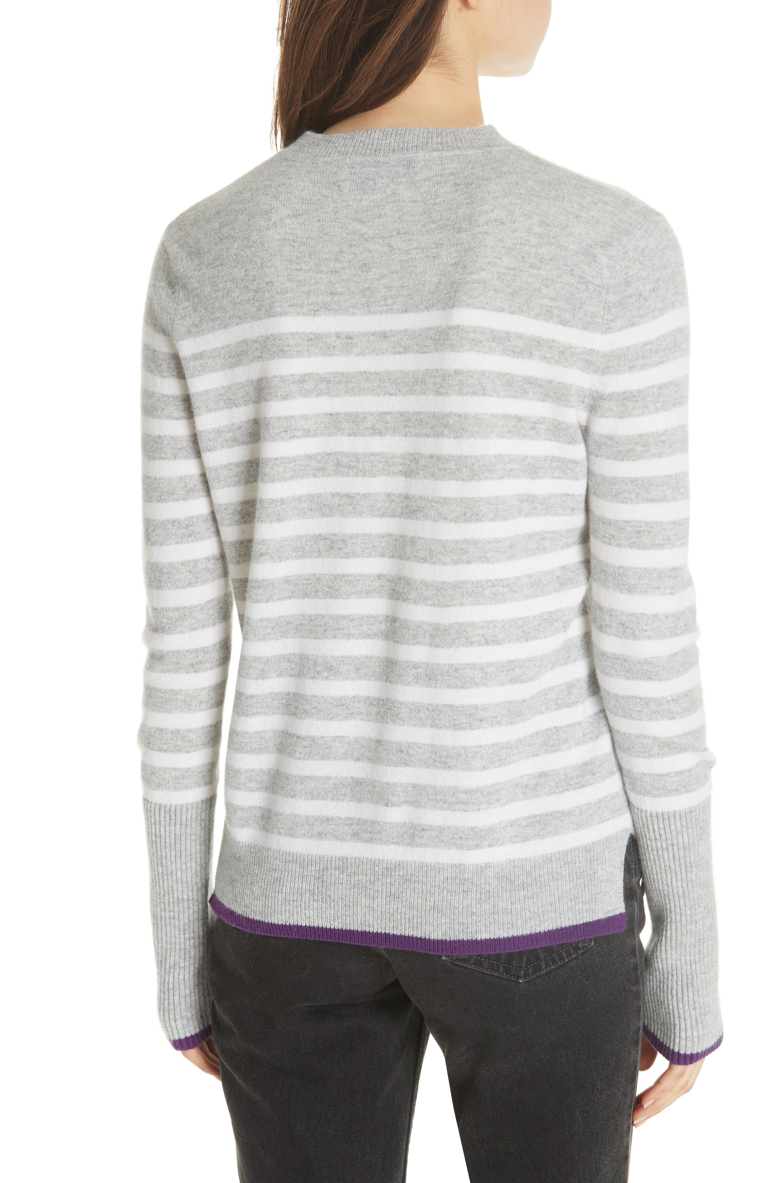 AAA Lean Lines Cashmere Sweater,                             Alternate thumbnail 2, color,                             GREY MARLE/ CREAM/ PURPLE