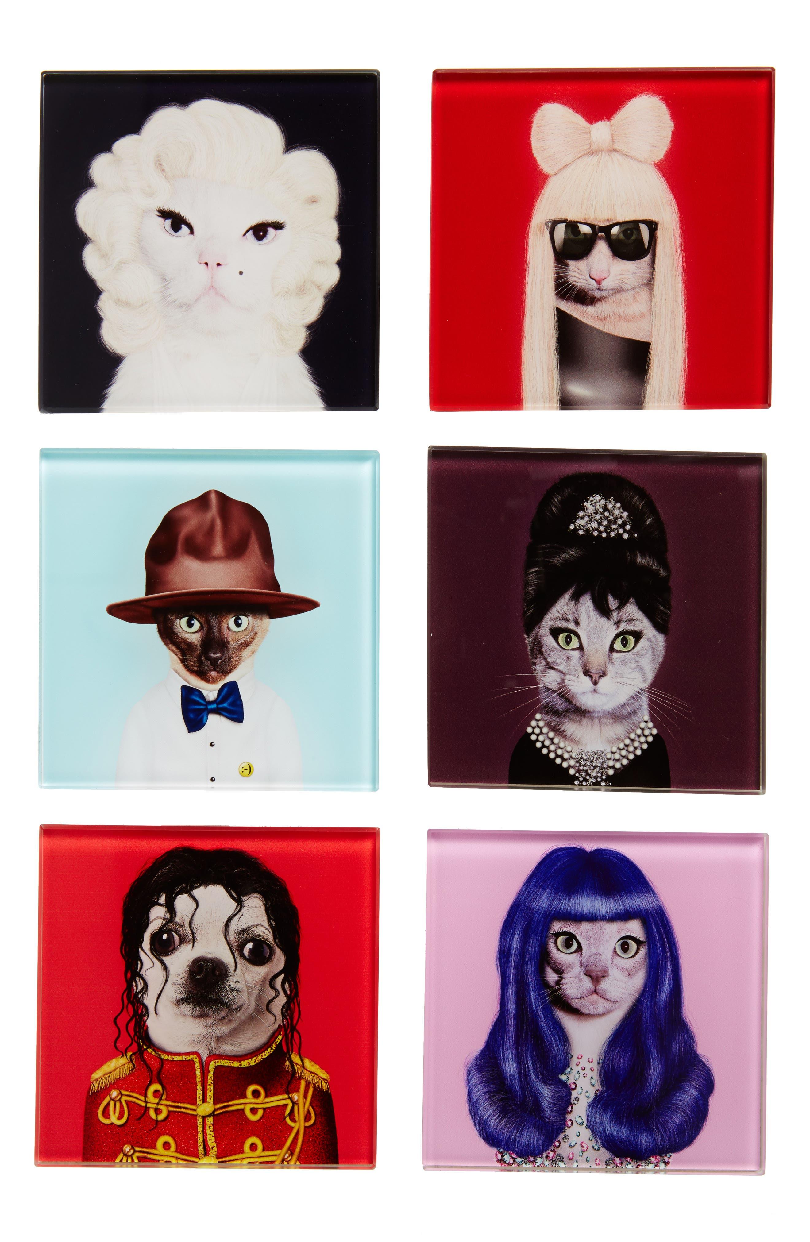 Pets Rock<sup>™</sup> Set of 6 Coasters,                             Main thumbnail 1, color,                             602