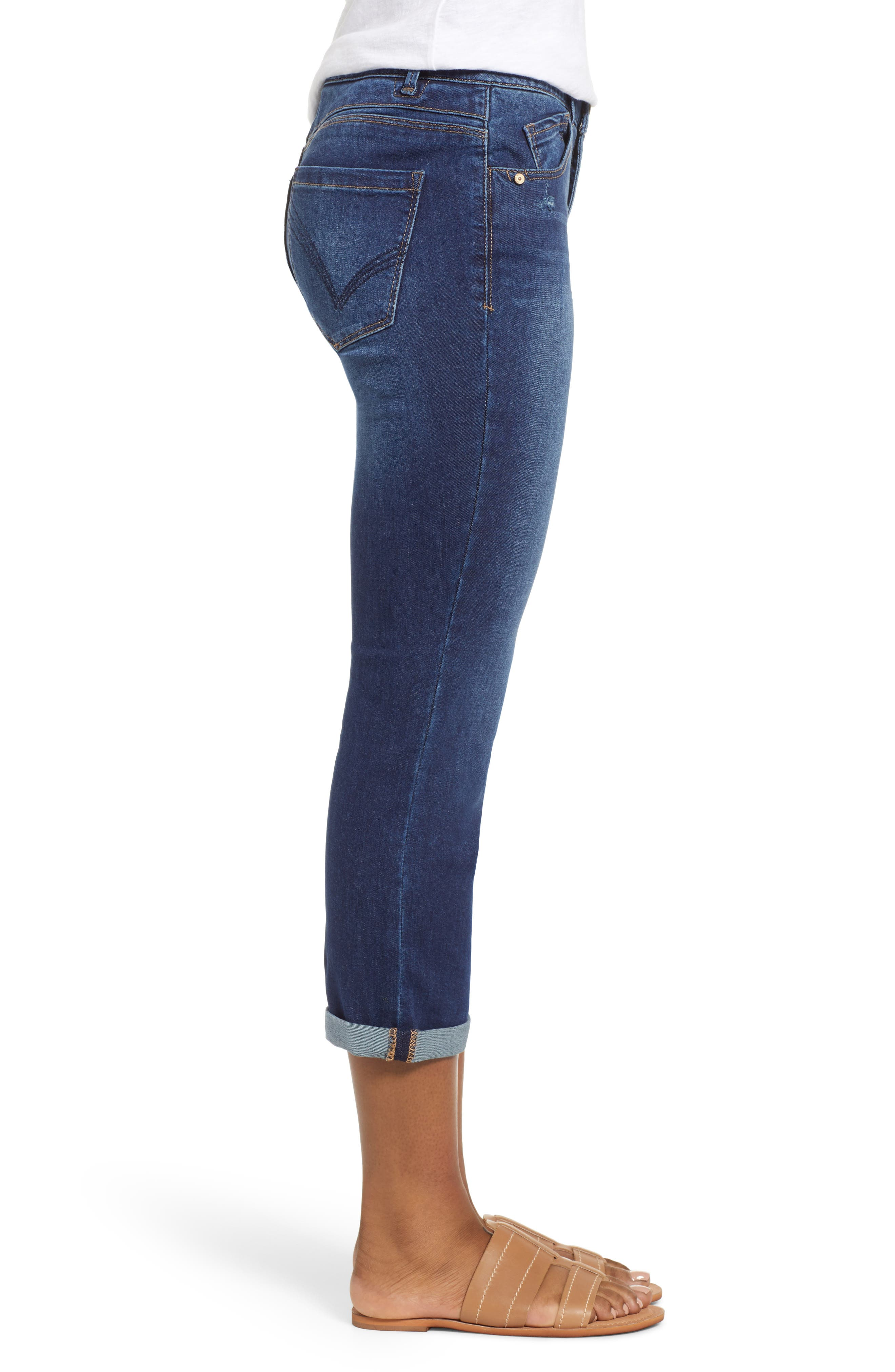 Luxe Touch High Waist Crop Skinny Jeans,                             Alternate thumbnail 3, color,                             BLUE