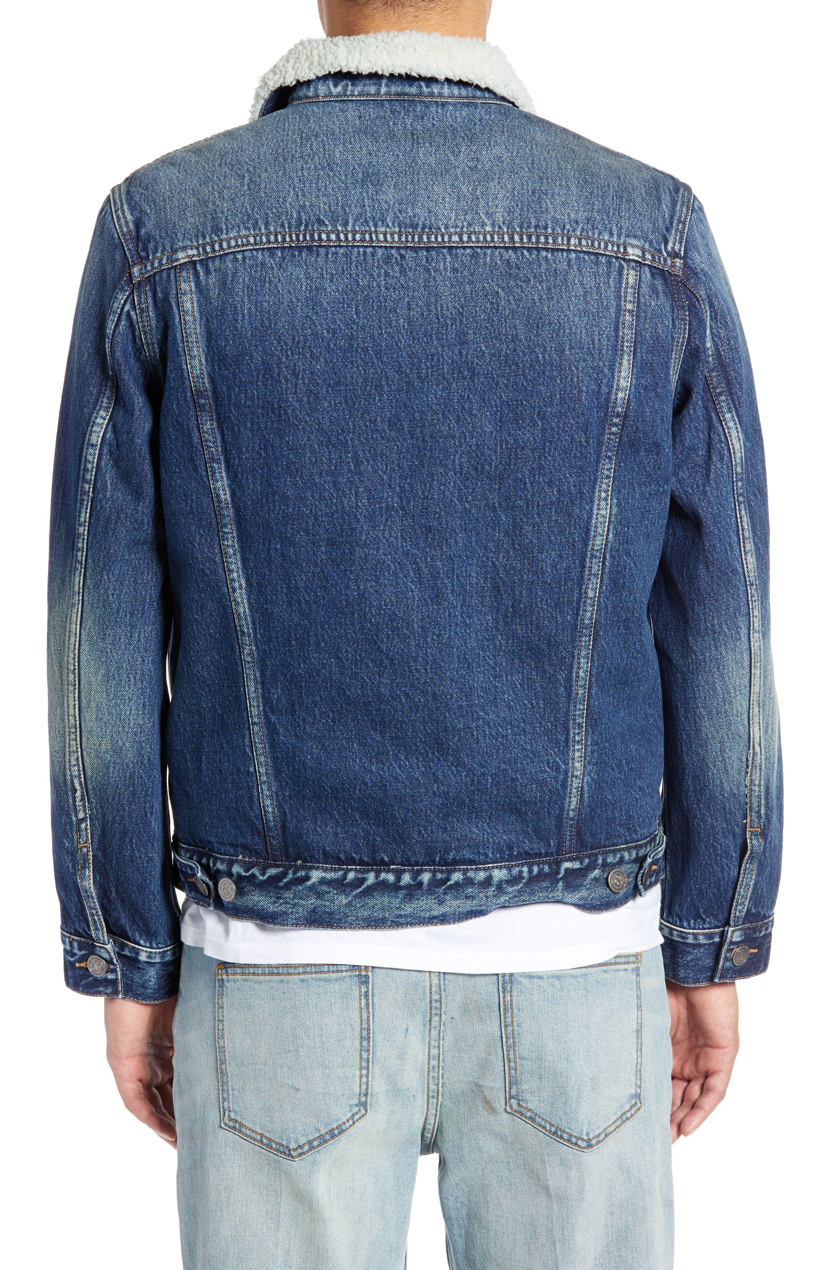 Denim Jacket with Faux Shearling Collar,                             Alternate thumbnail 2, color,                             BLUE MEDIUM DENIM