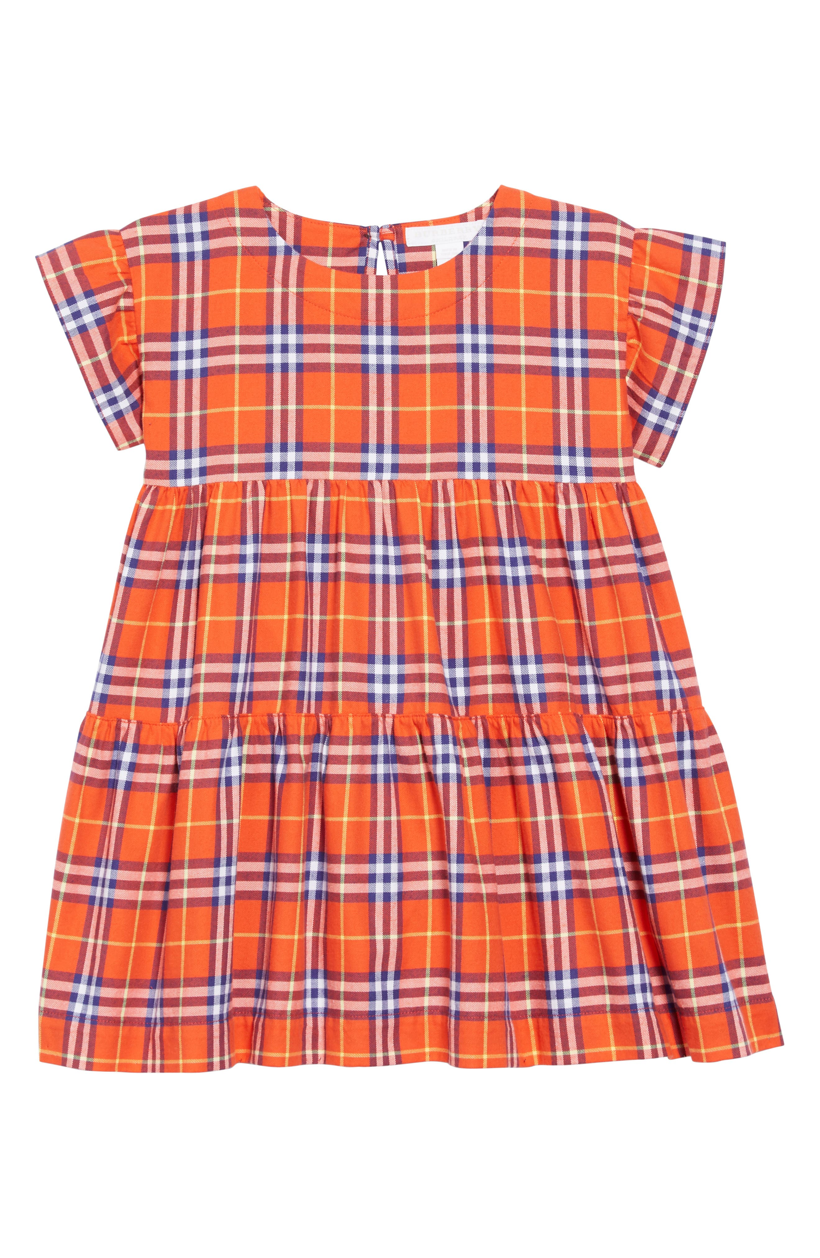Alima Check Dress,                         Main,                         color, ORANGE RED CHECK