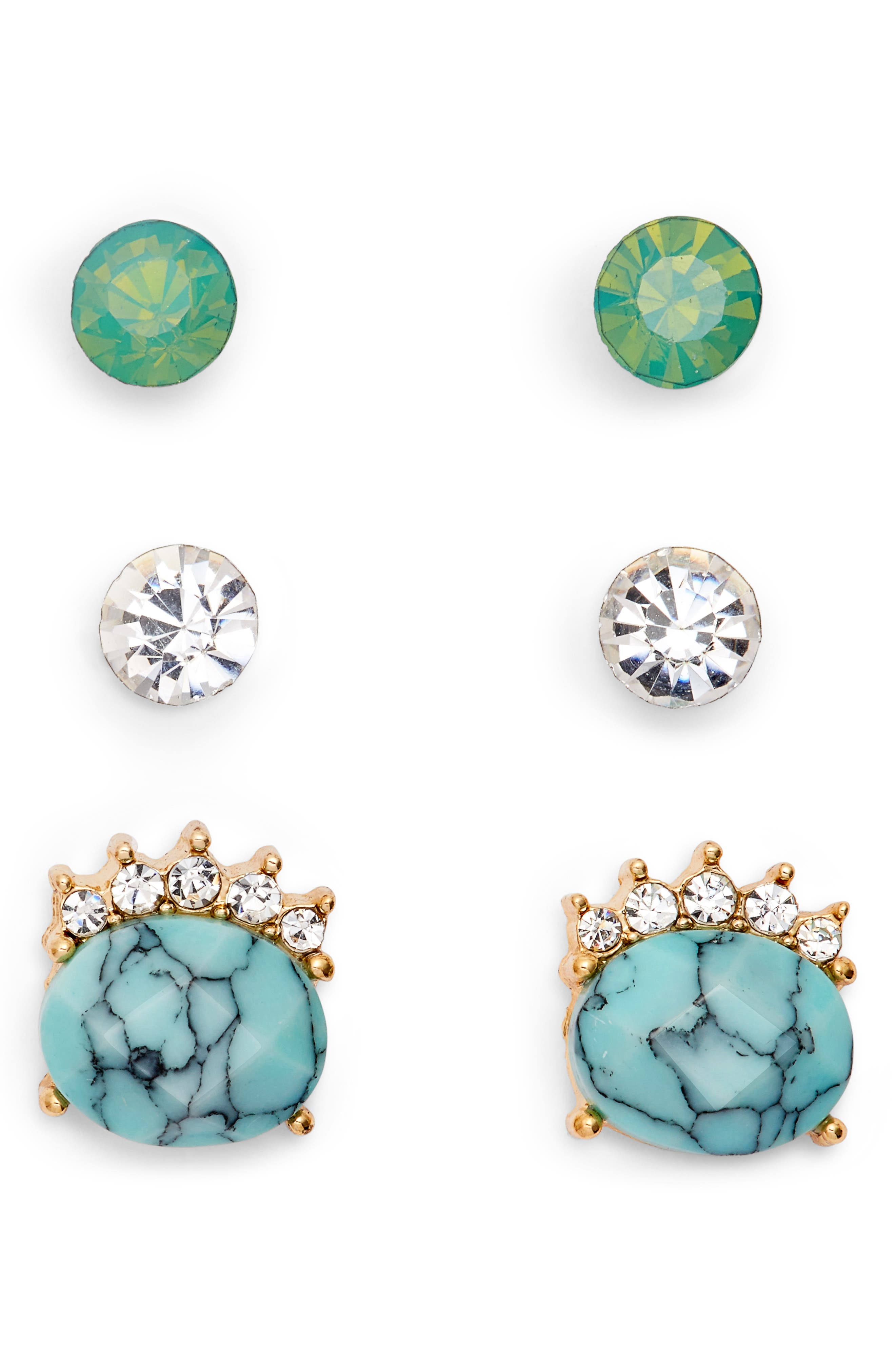 Assorted 3-Pack Turquoise Stud Earrings,                             Main thumbnail 1, color,                             400