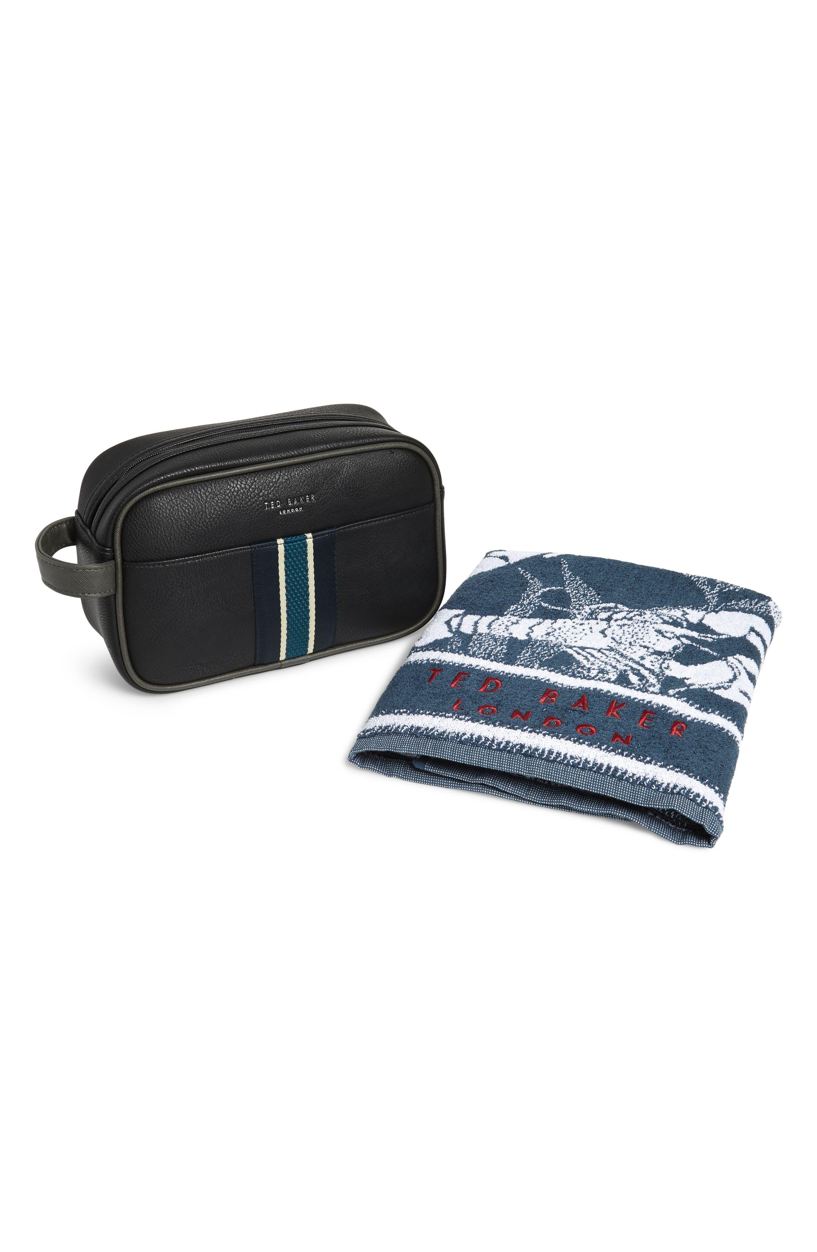 Travel Kit & Towel,                         Main,                         color, BLACK