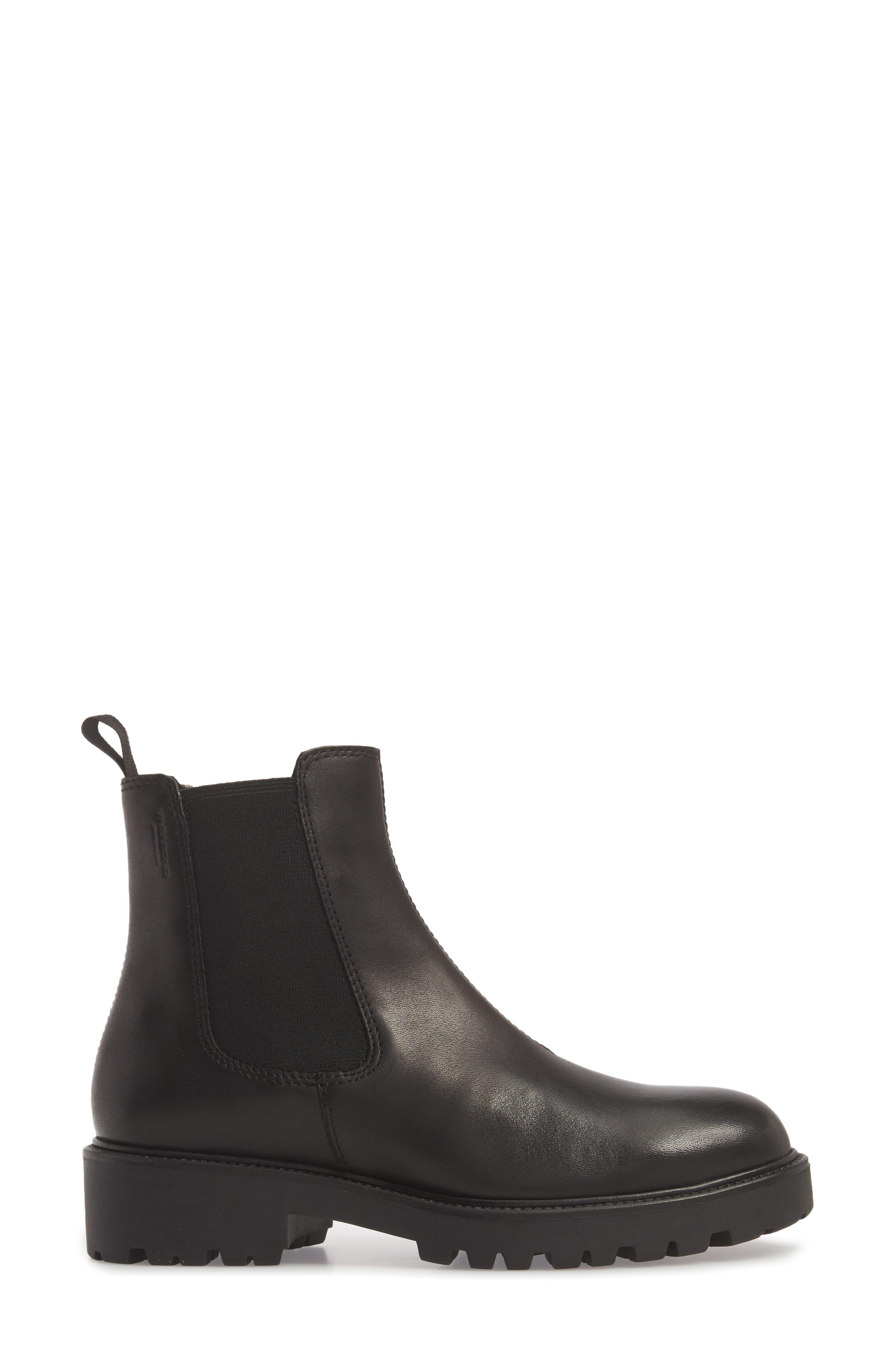 Kenova Lugged Chelsea Boot,                             Alternate thumbnail 3, color,                             BLACK LEATHER