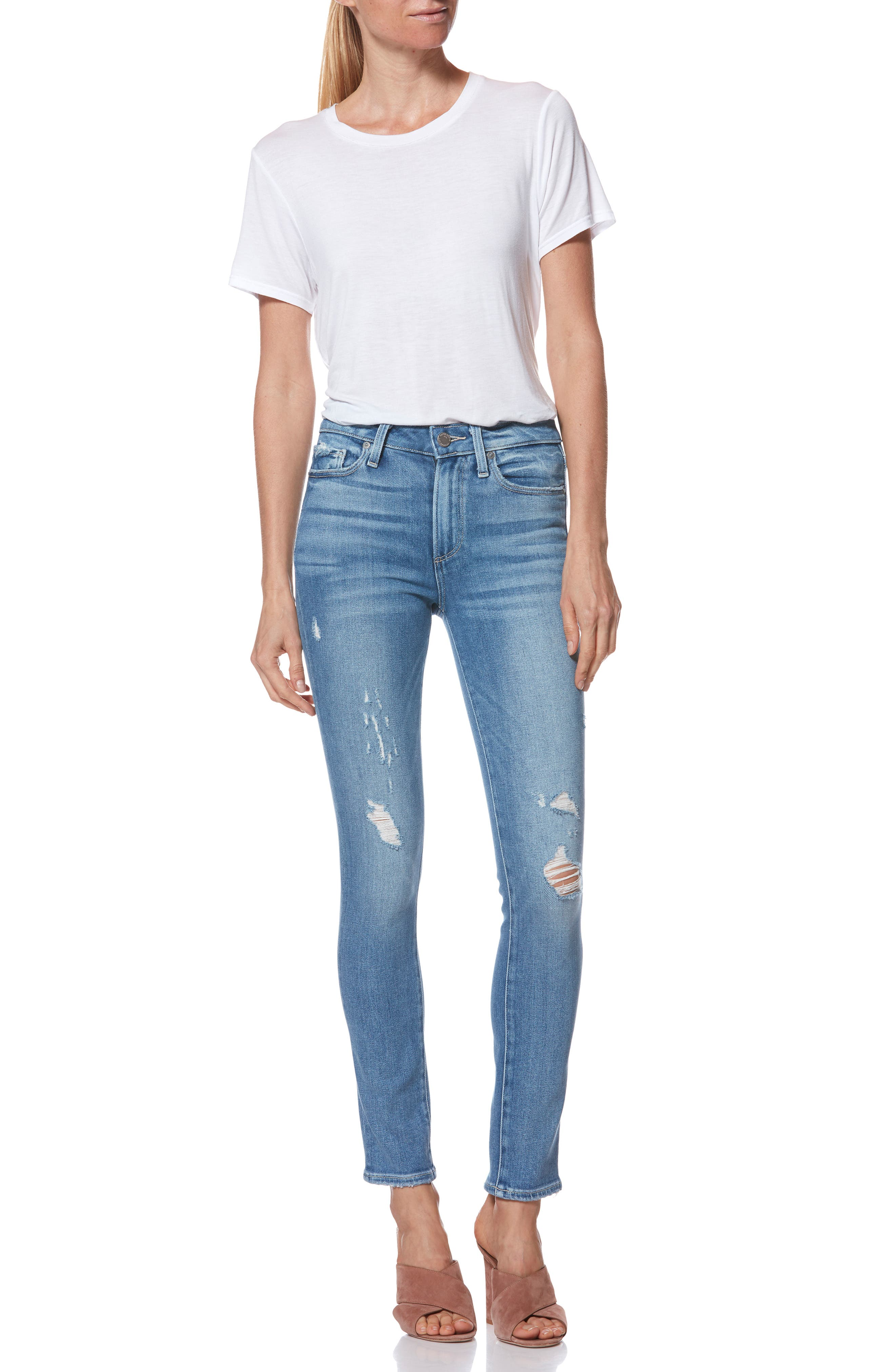 Hoxton High Waist Ankle Peg Jeans,                             Alternate thumbnail 8, color,                             KAYSON DISTRESSED
