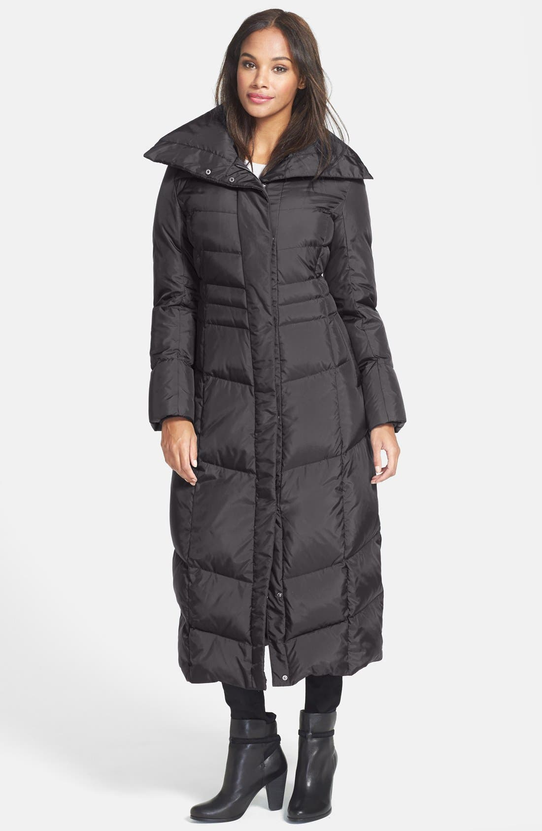 Long Down & Feather Fill Coat,                         Main,                         color, BLACK