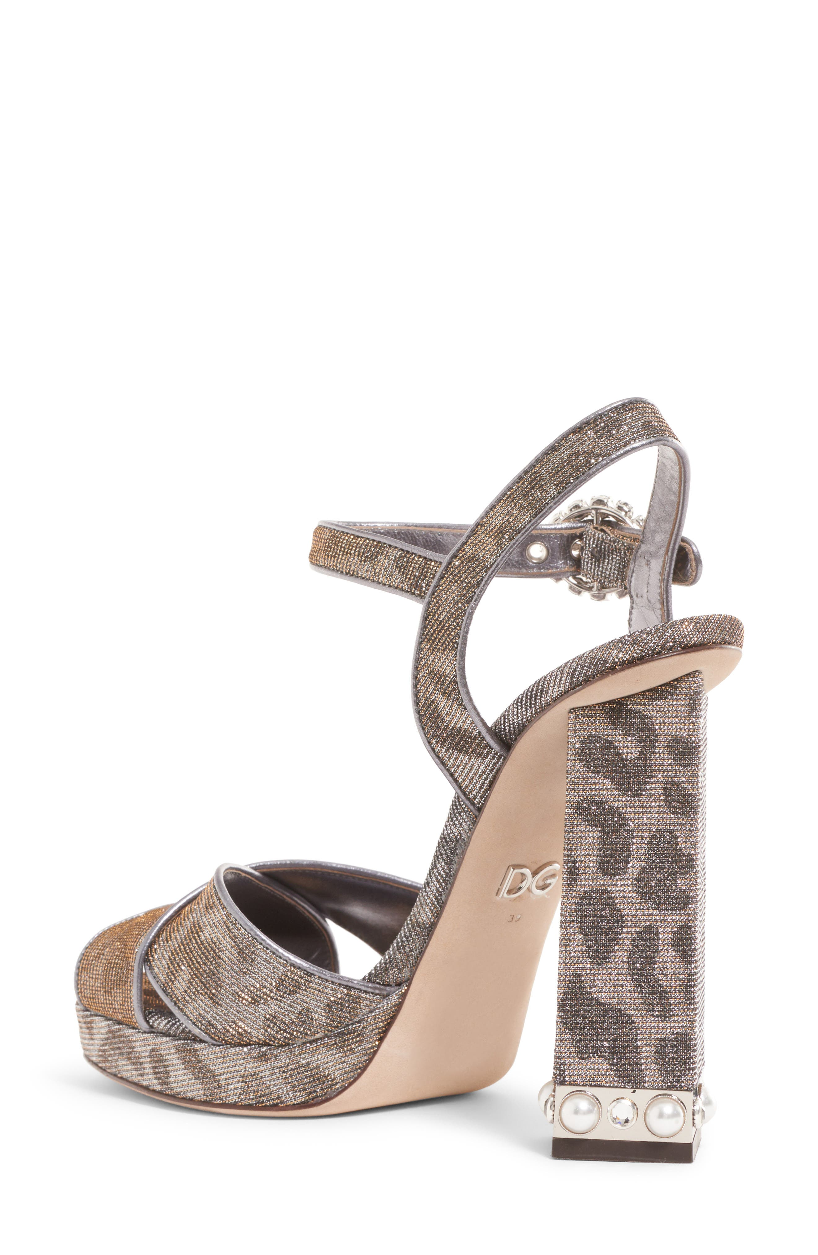 Metallic Leopard Print Sandal,                             Alternate thumbnail 2, color,                             SILVER/ GOLD
