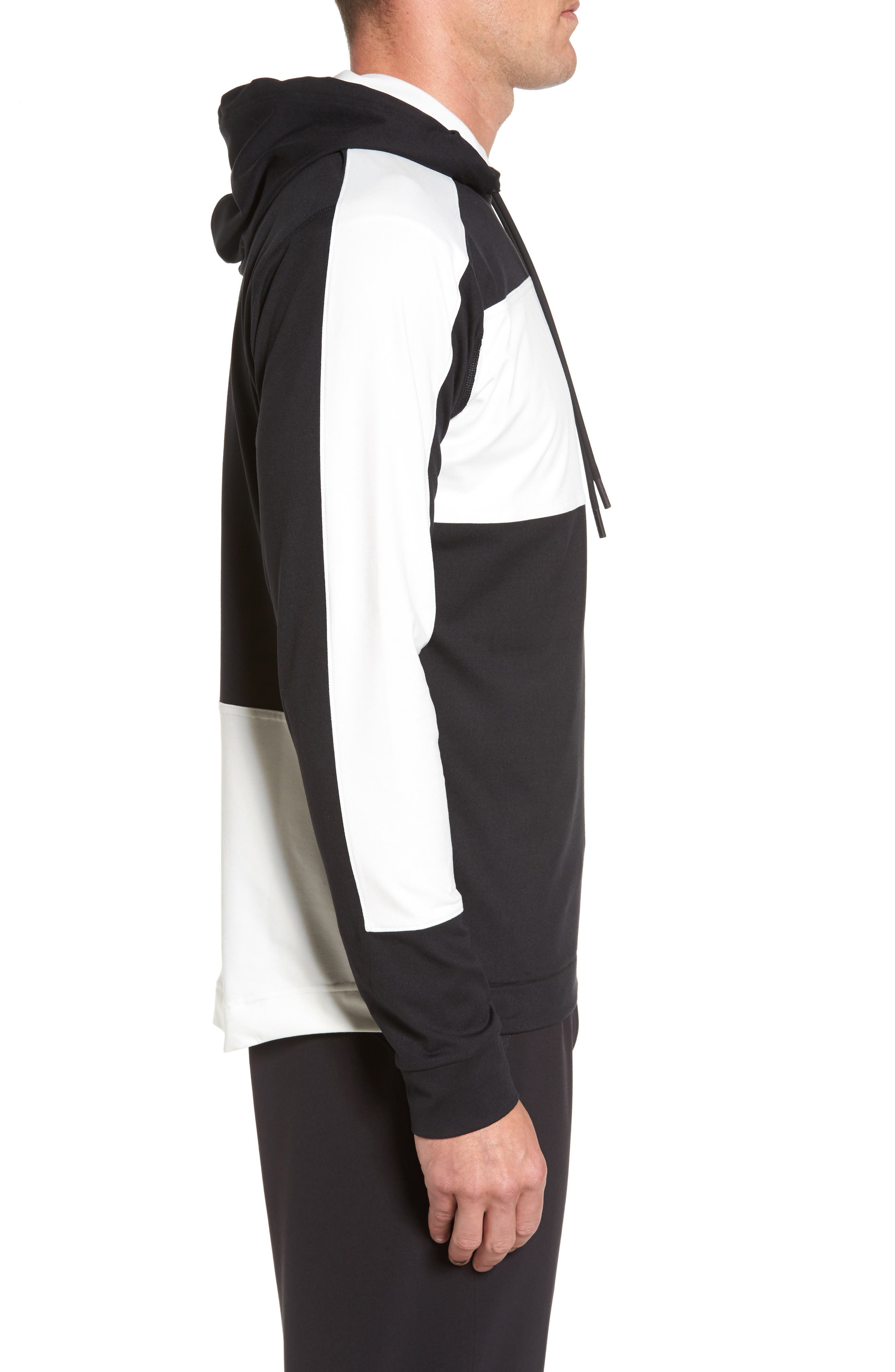 Colorblock Stretch Hoodie,                             Alternate thumbnail 3, color,                             001