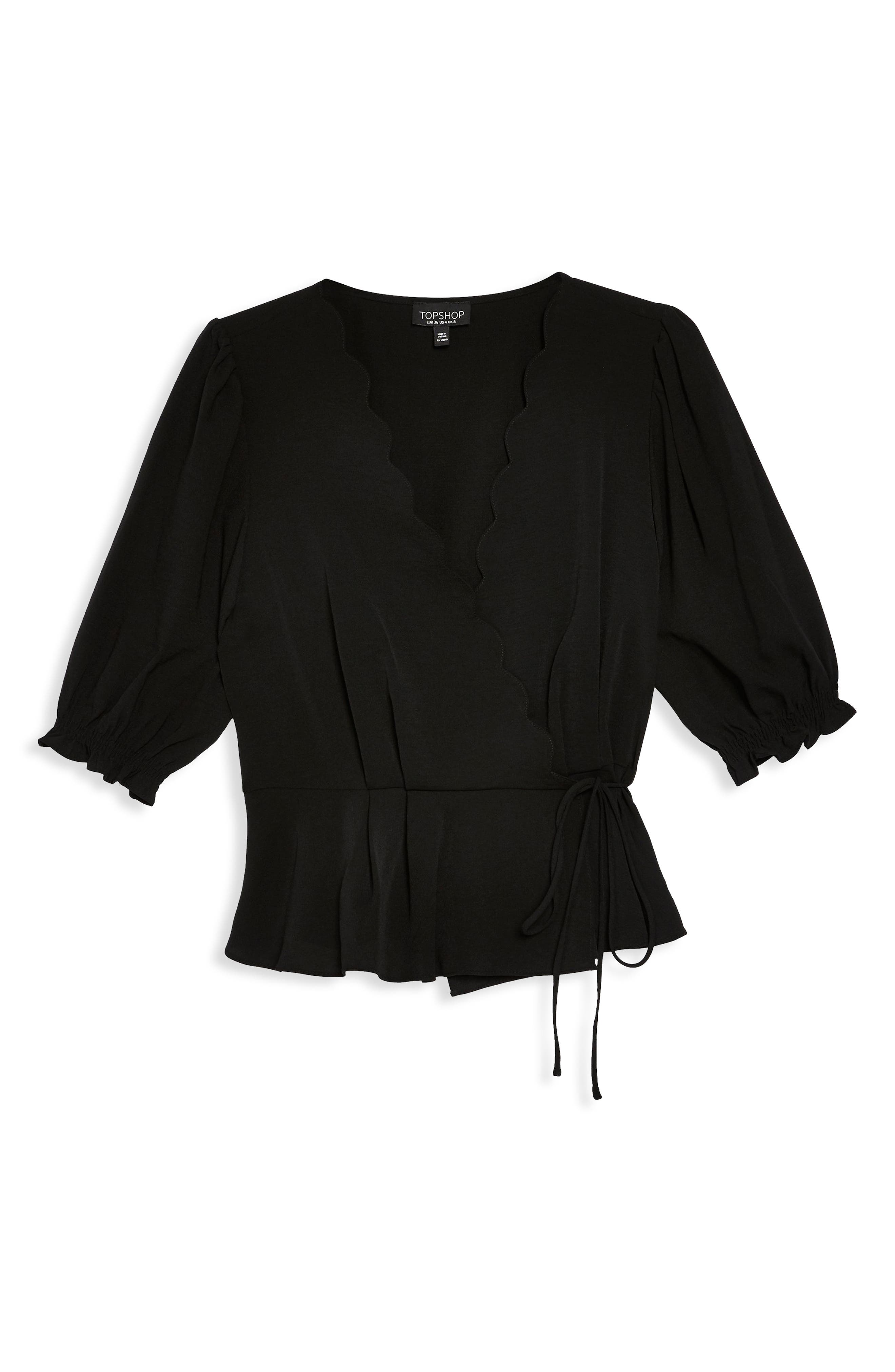 TOPSHOP,                             Scarlett Scalloped Wrap Blouse,                             Alternate thumbnail 3, color,                             BLACK