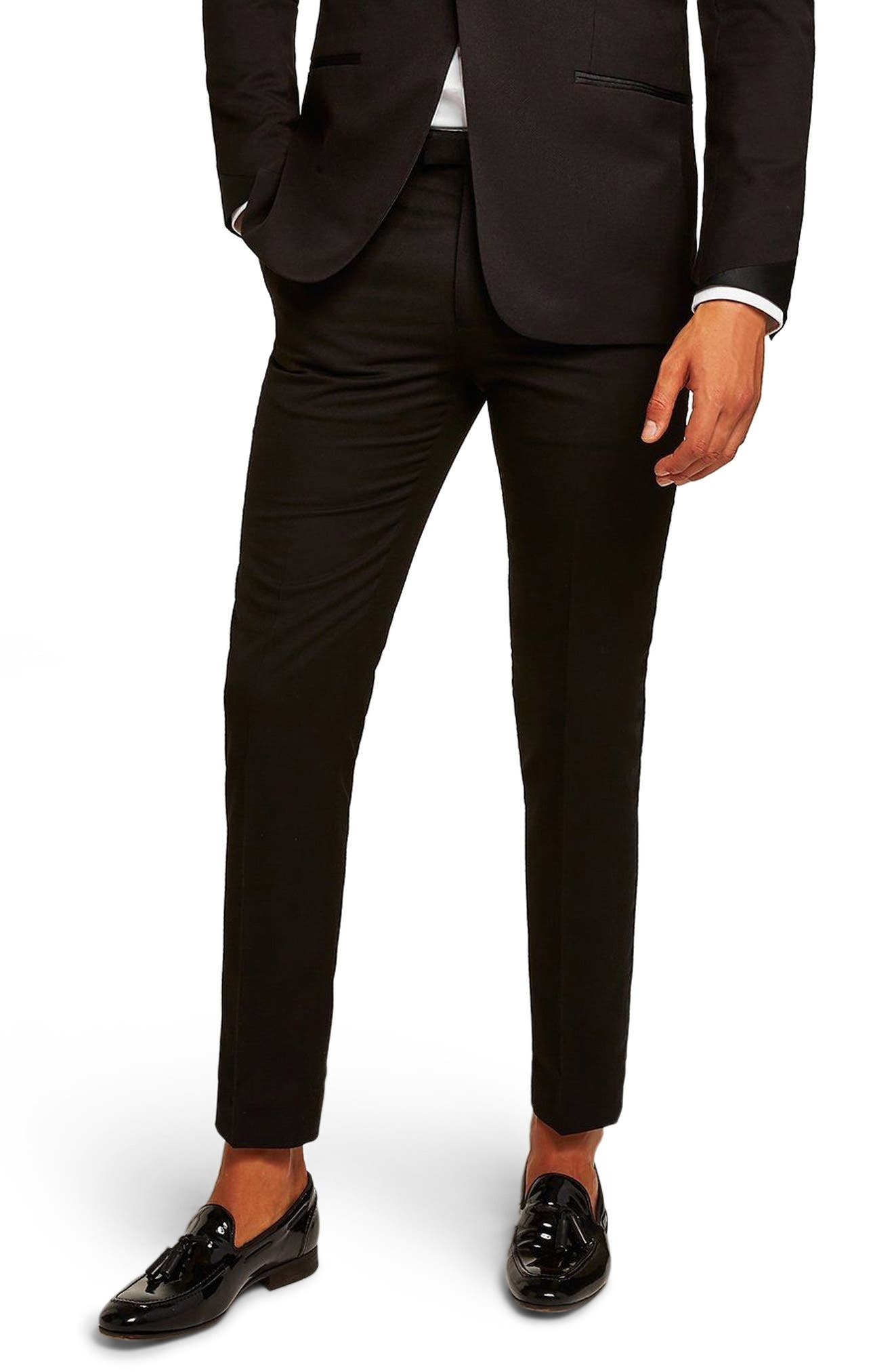 Satin Stripe Skinny Fit Suit Trousers,                         Main,                         color, 001