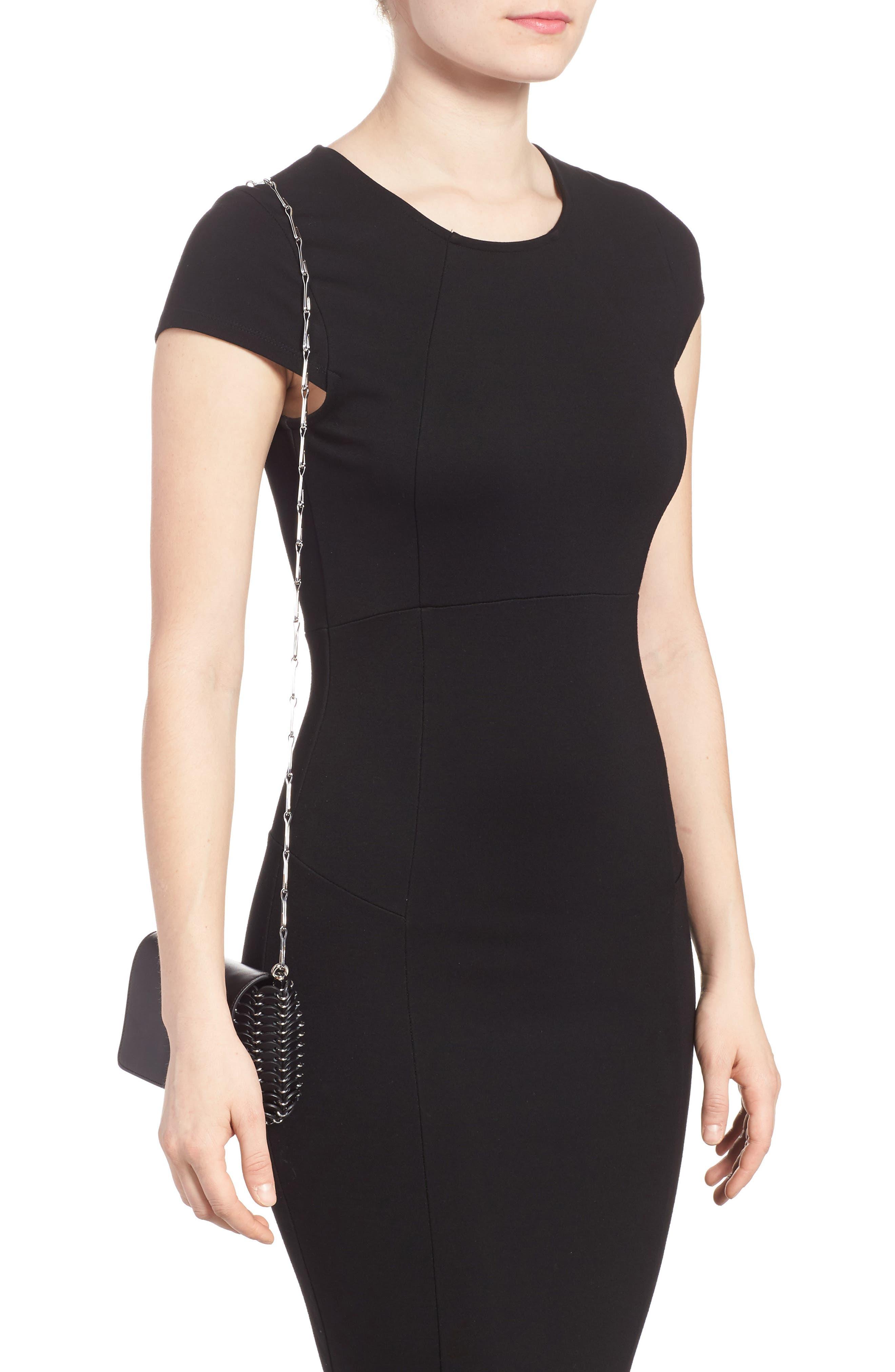 Mini Calfskin Shoulder Bag,                             Alternate thumbnail 2, color,                             BLACK