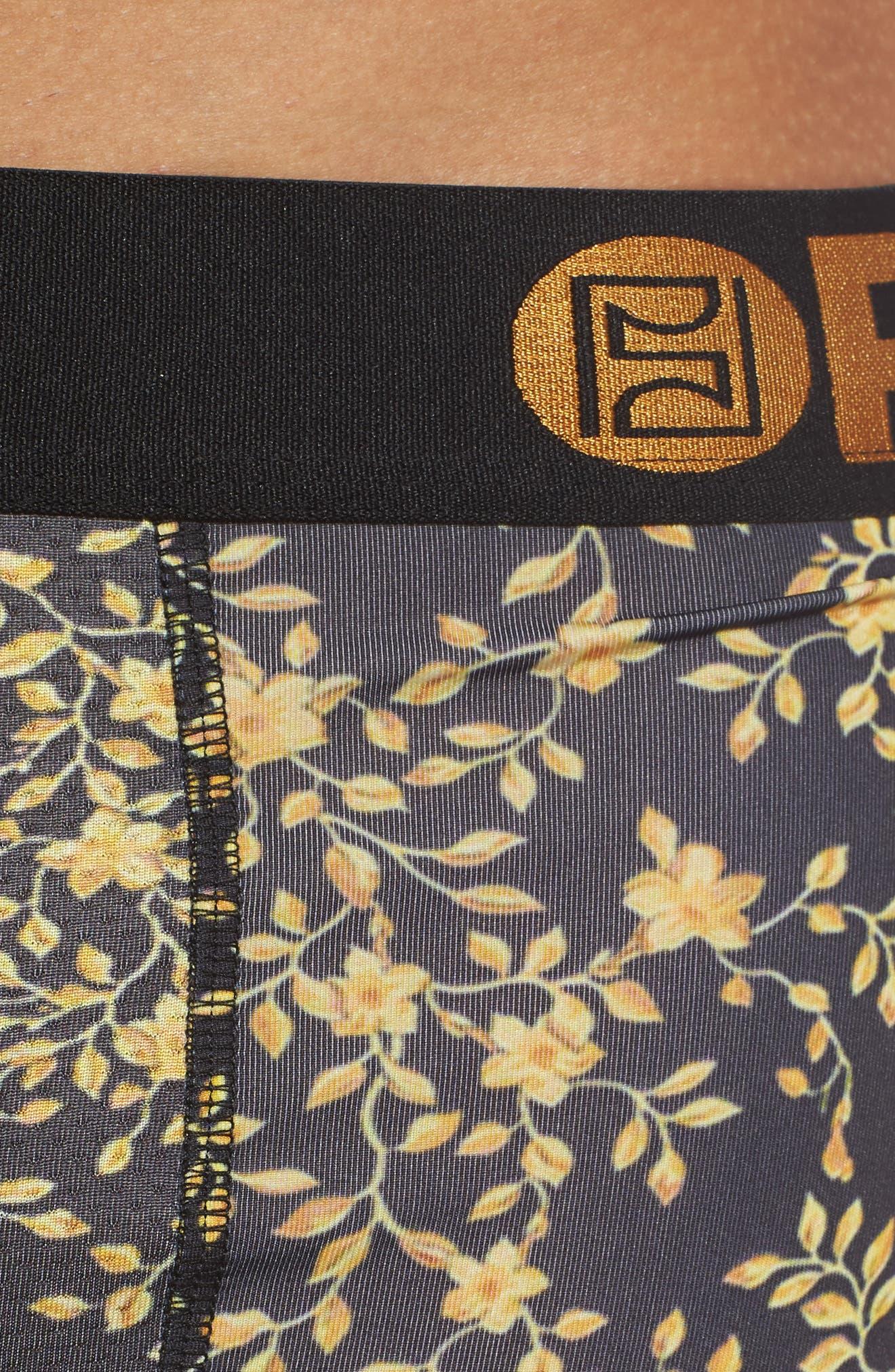 Flower Sace Boxer Briefs,                             Alternate thumbnail 4, color,                             BLACK/ GOLD