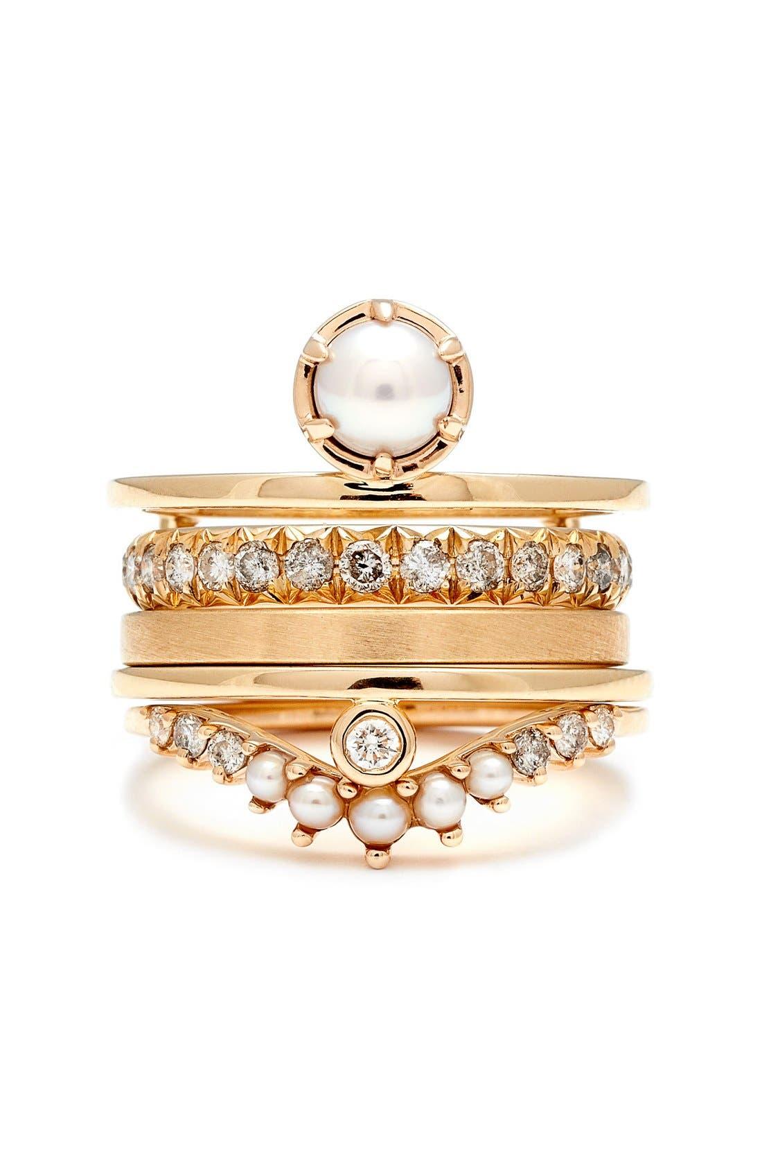 'Tiara Curve' Diamond & Seed Pearl Ring,                             Alternate thumbnail 3, color,                             715