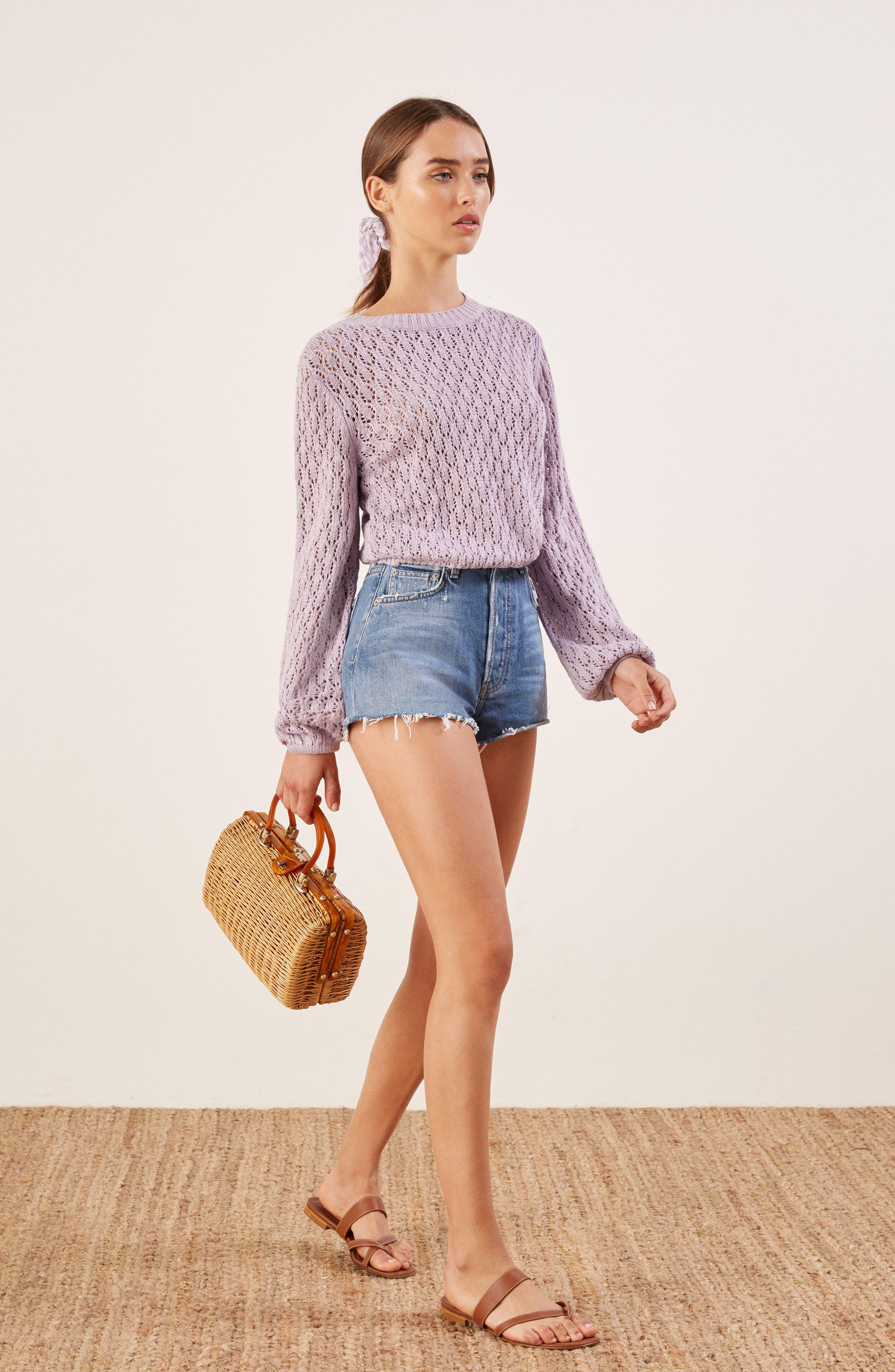 Rose Pointelle Linen Sweater,                             Alternate thumbnail 6, color,                             LILAC