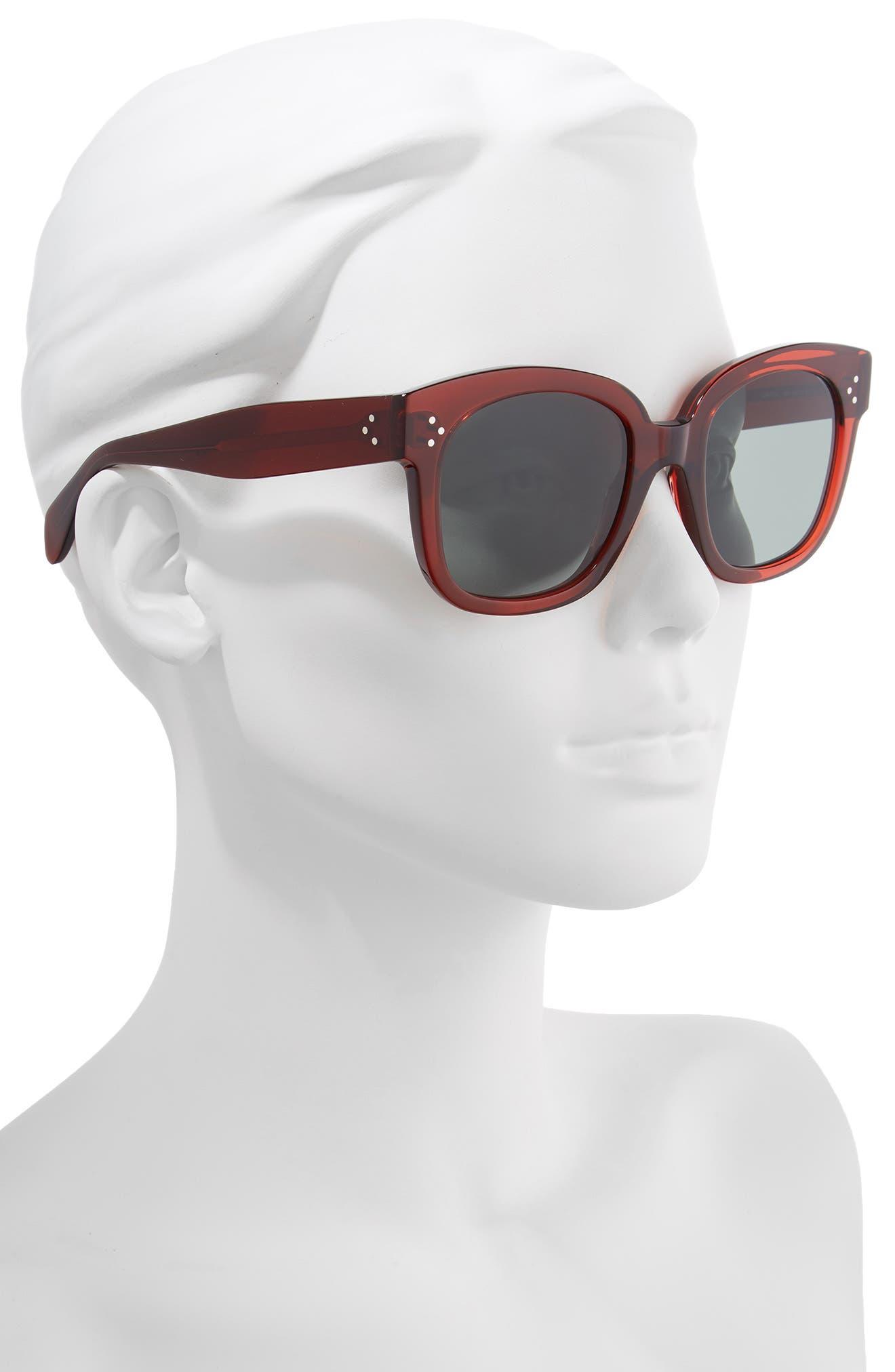 54mm Round Sunglasses,                             Alternate thumbnail 2, color,                             BORDEAUX/ GREEN