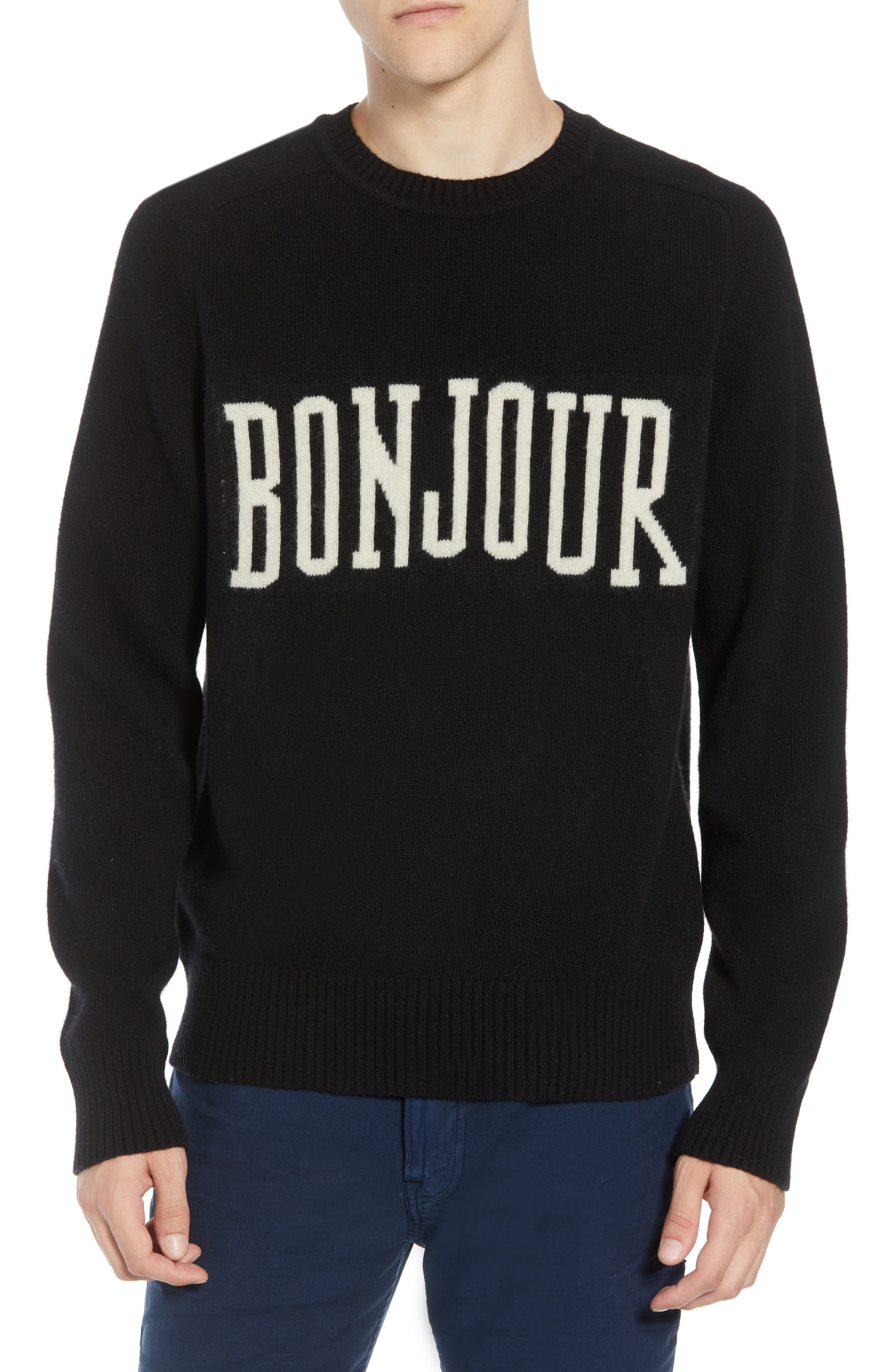 French Connection Bonjour Wool Blend Sweater, Black