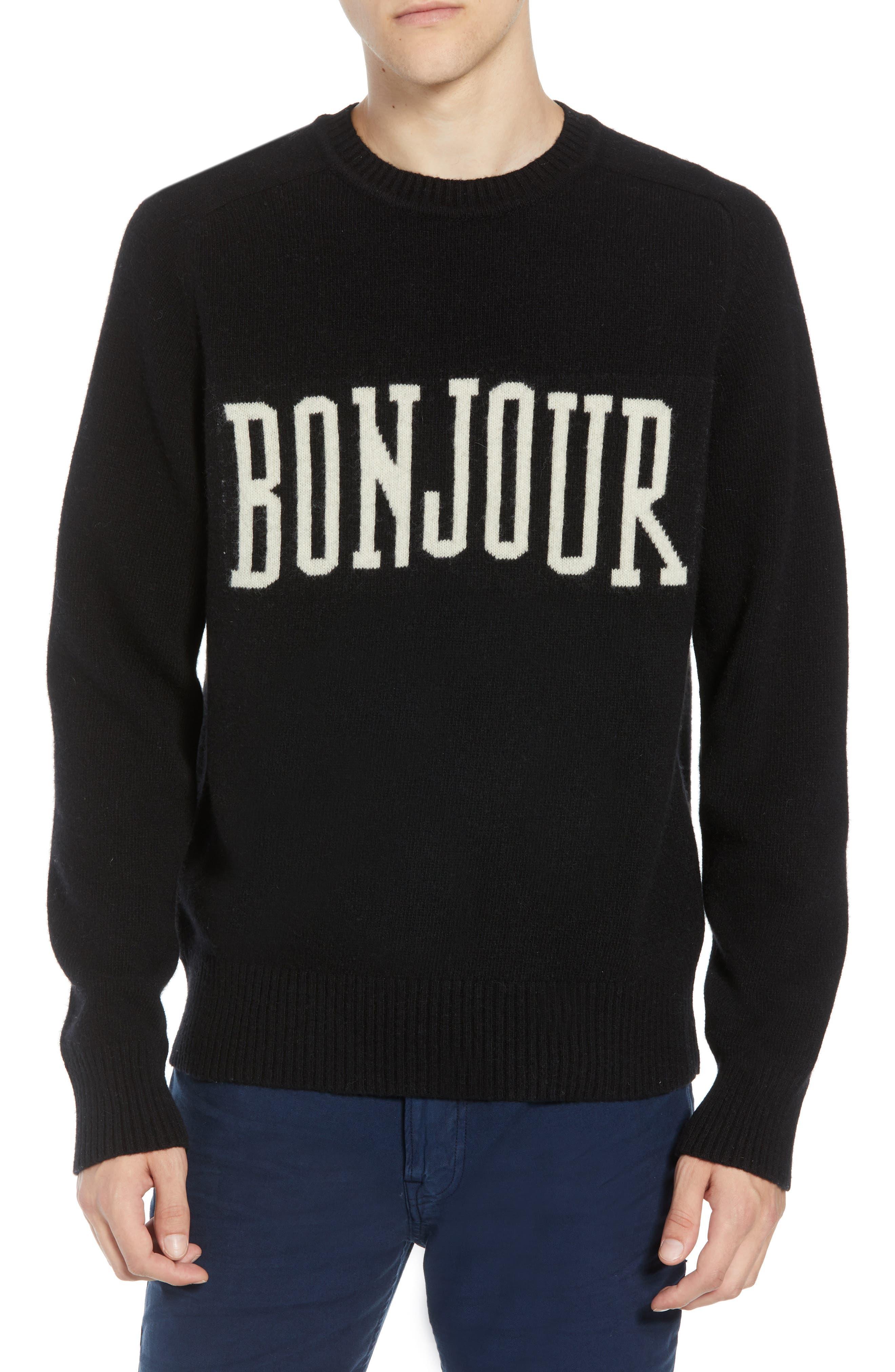 Bonjour Wool Blend Sweater,                             Main thumbnail 1, color,                             BLACK WHITECAP GREY