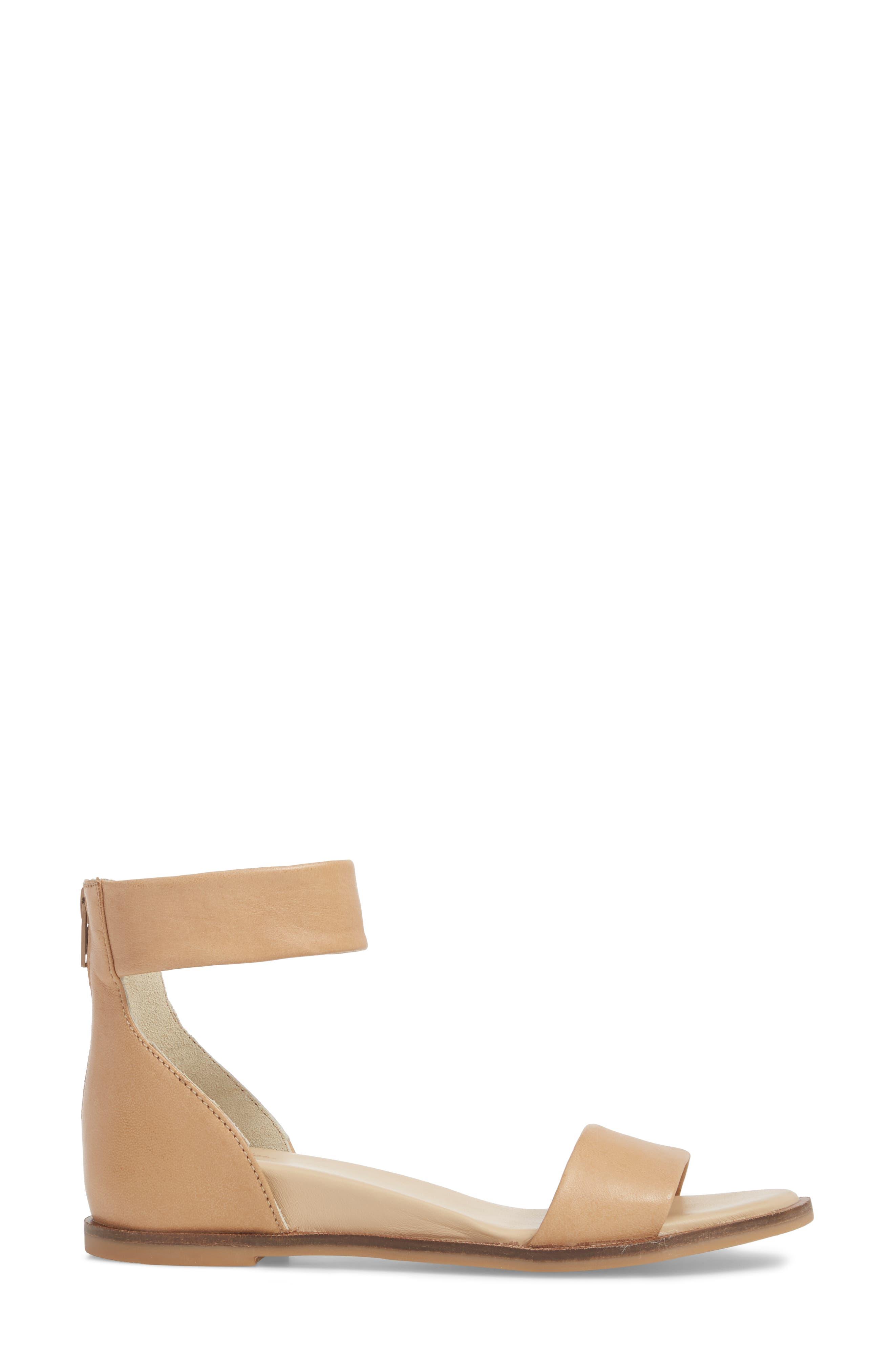 Ankle Strap Sandal,                             Alternate thumbnail 3, color,                             VACCHETTA LEATHER
