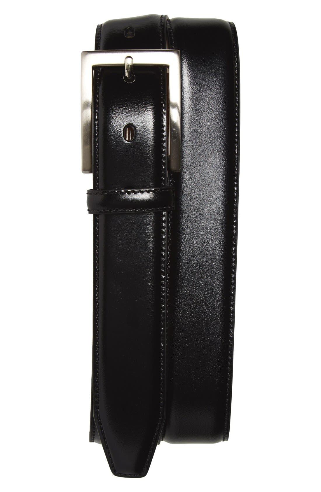 Calfskin Belt,                         Main,                         color, BLACK
