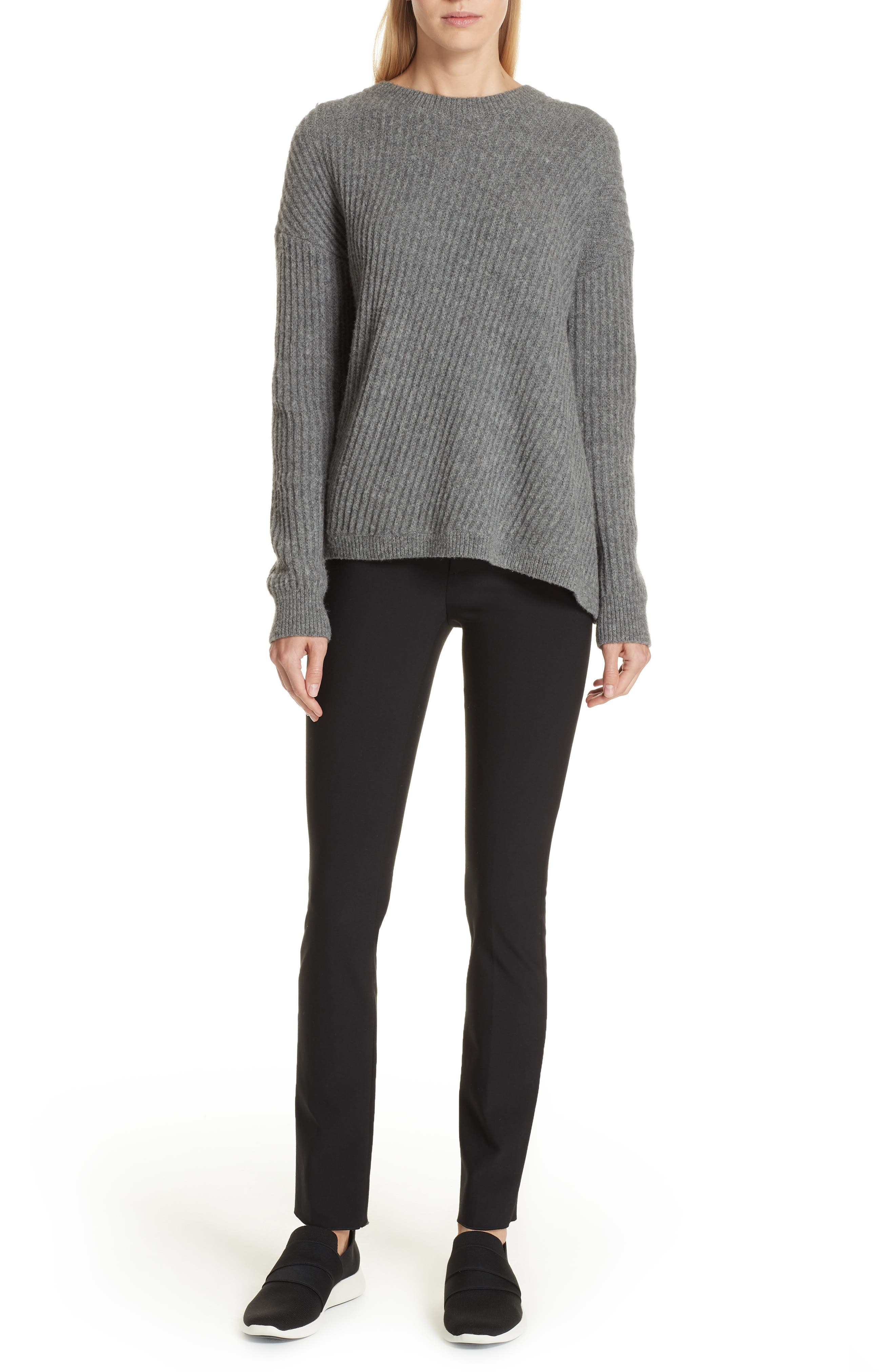 Side Slit Ribbed Sweater,                             Alternate thumbnail 7, color,                             MID GREY