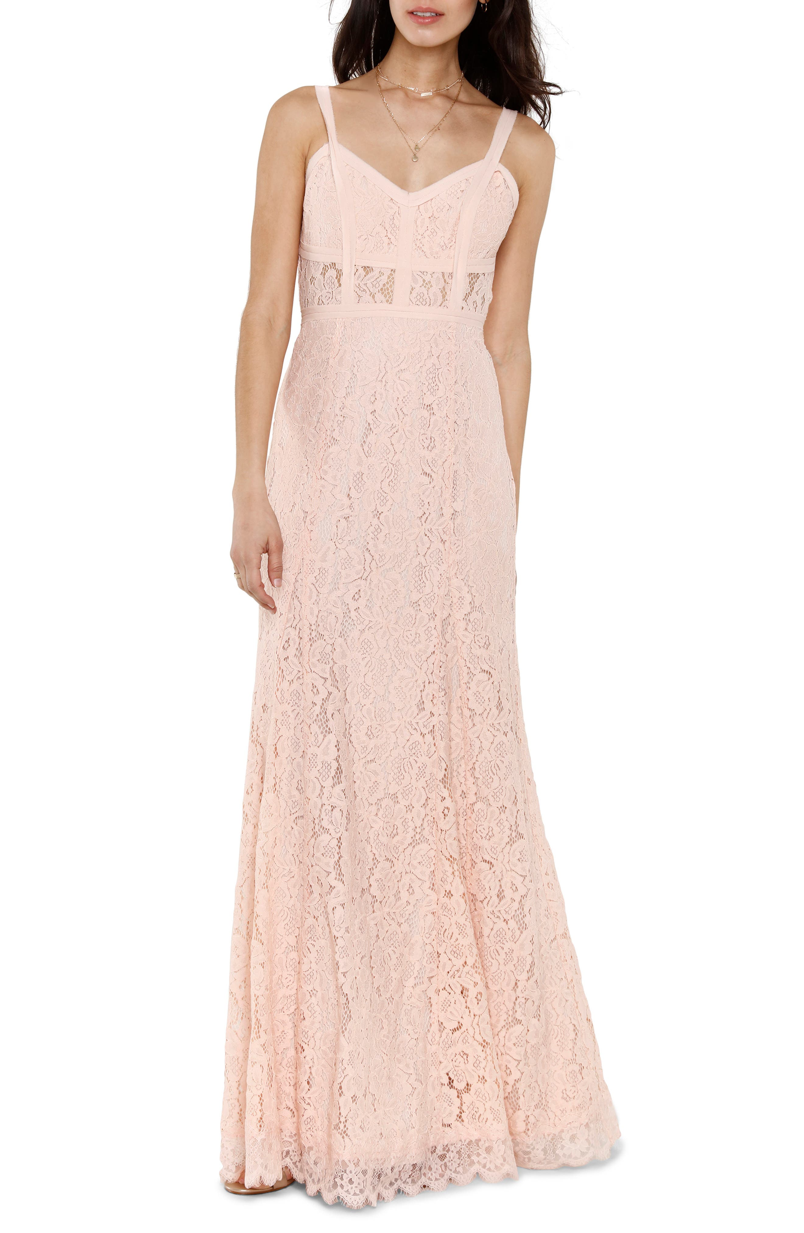 Esti Bustier Bodice Lace Gown,                             Main thumbnail 1, color,                             BLUSH