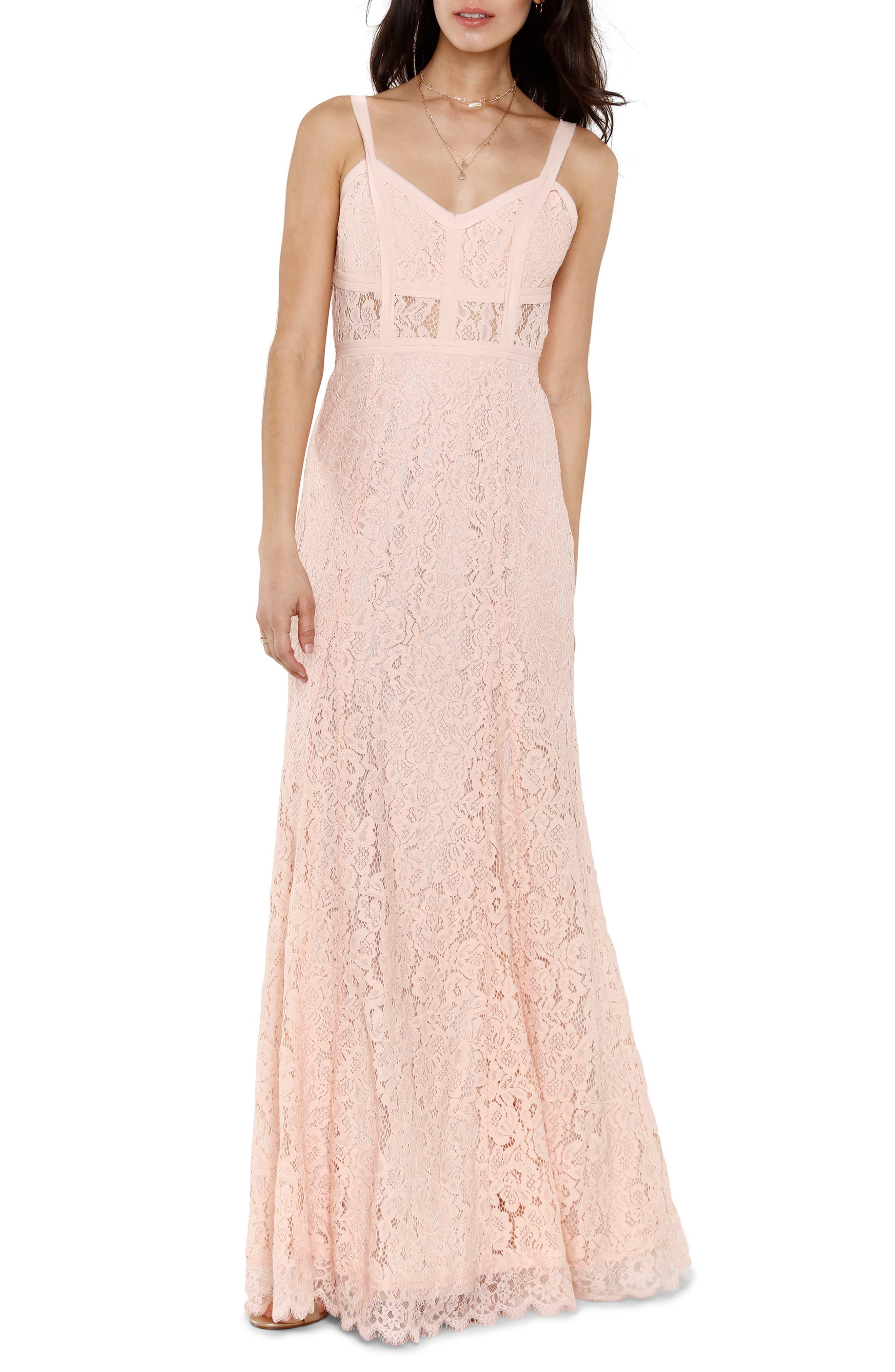 Esti Bustier Bodice Lace Gown,                         Main,                         color, BLUSH