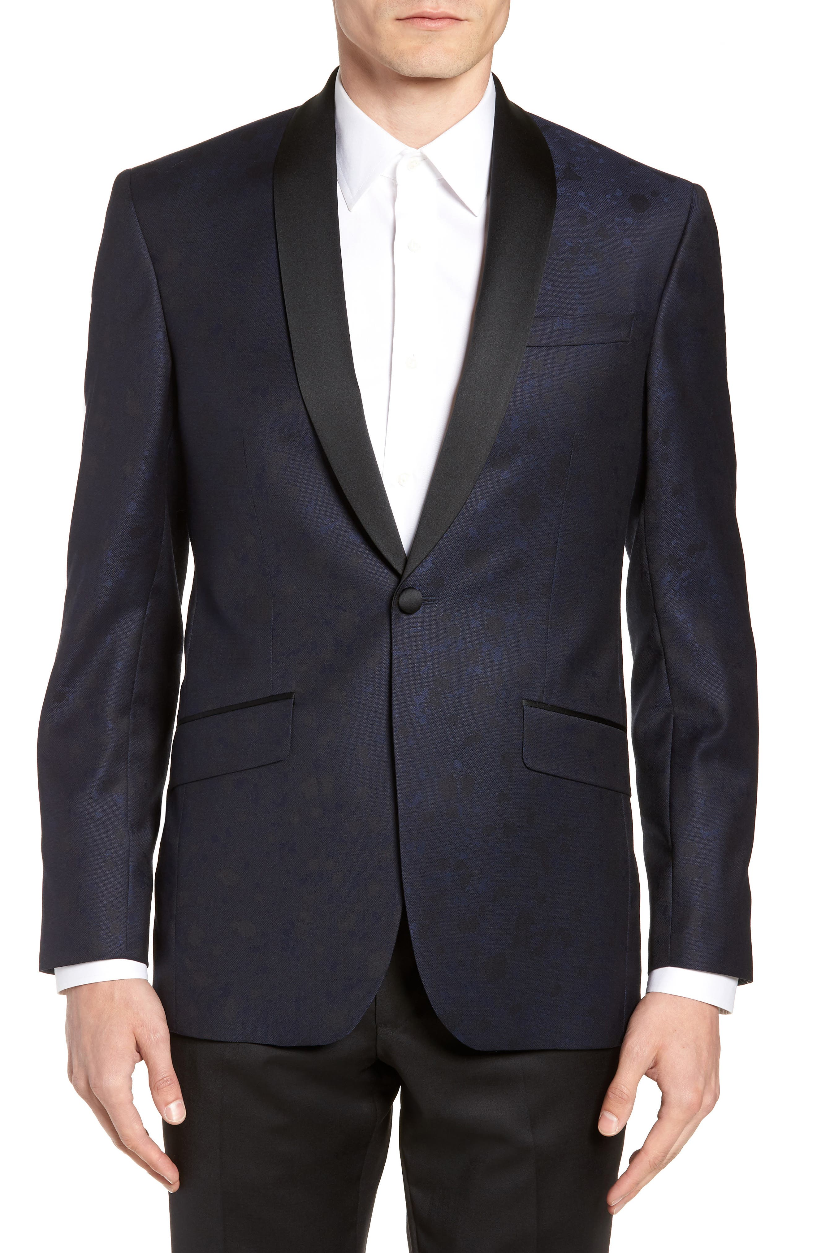 Josh Trim Fit Wool Dinner Jacket,                             Main thumbnail 1, color,                             NAVY