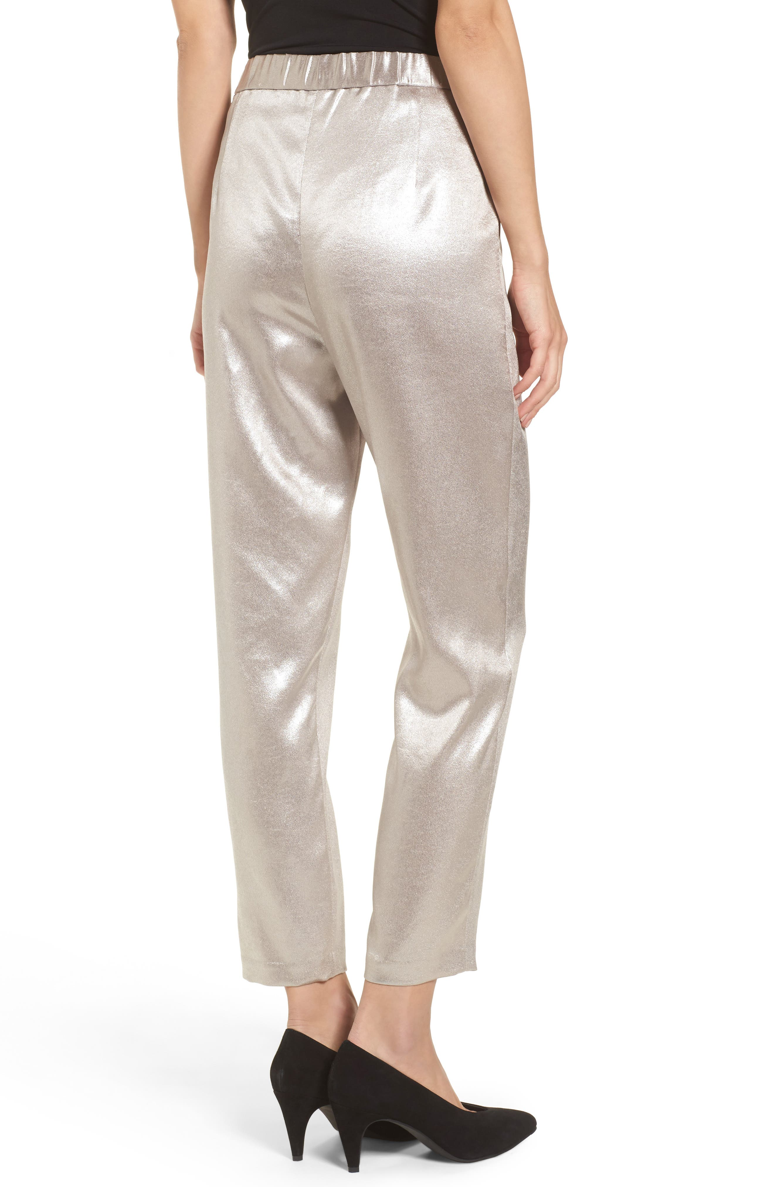 Satin High Waist Ankle Pants,                             Alternate thumbnail 2, color,