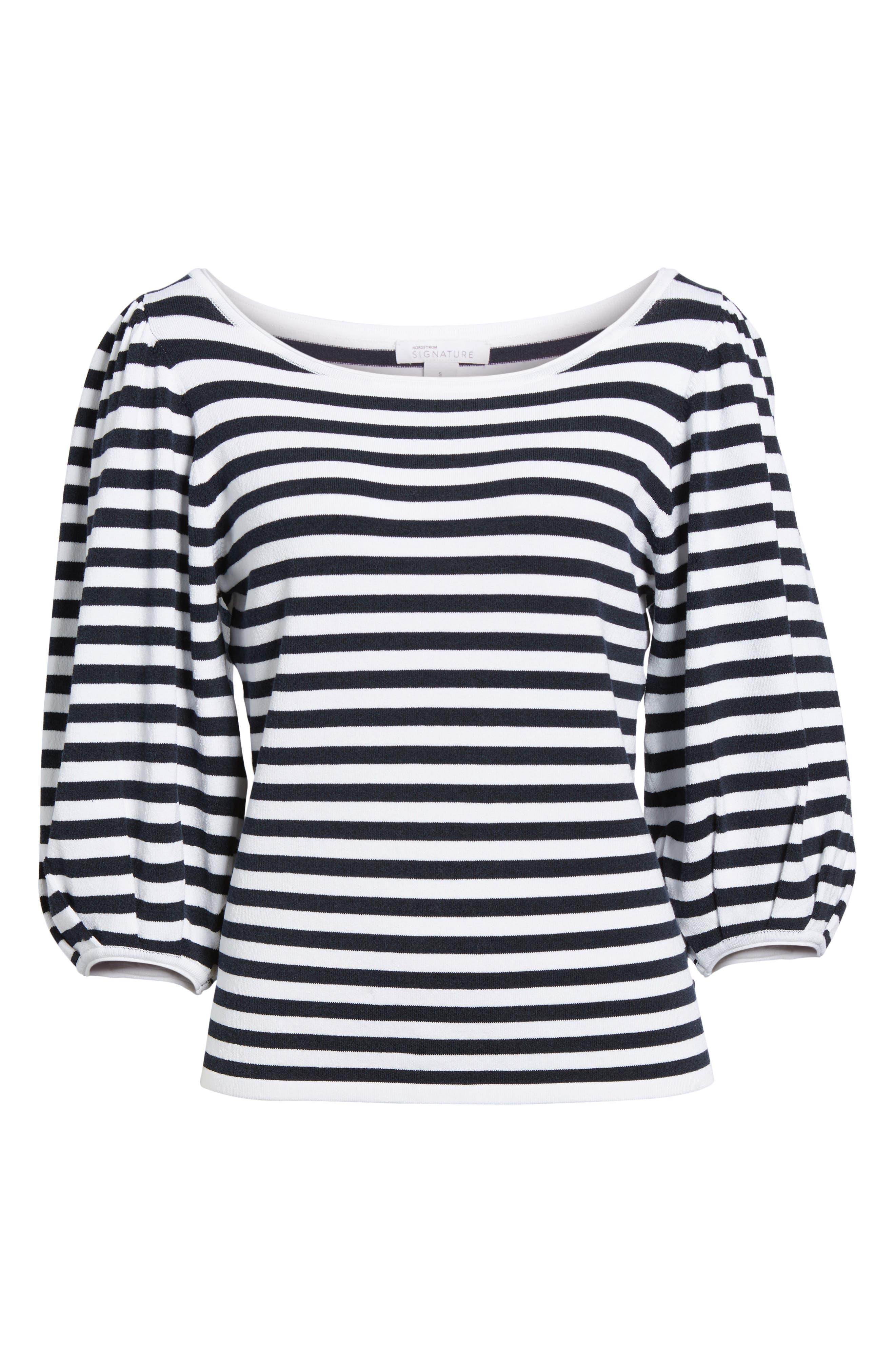 Blouson Sleeve Stripe Sweater,                             Alternate thumbnail 6, color,