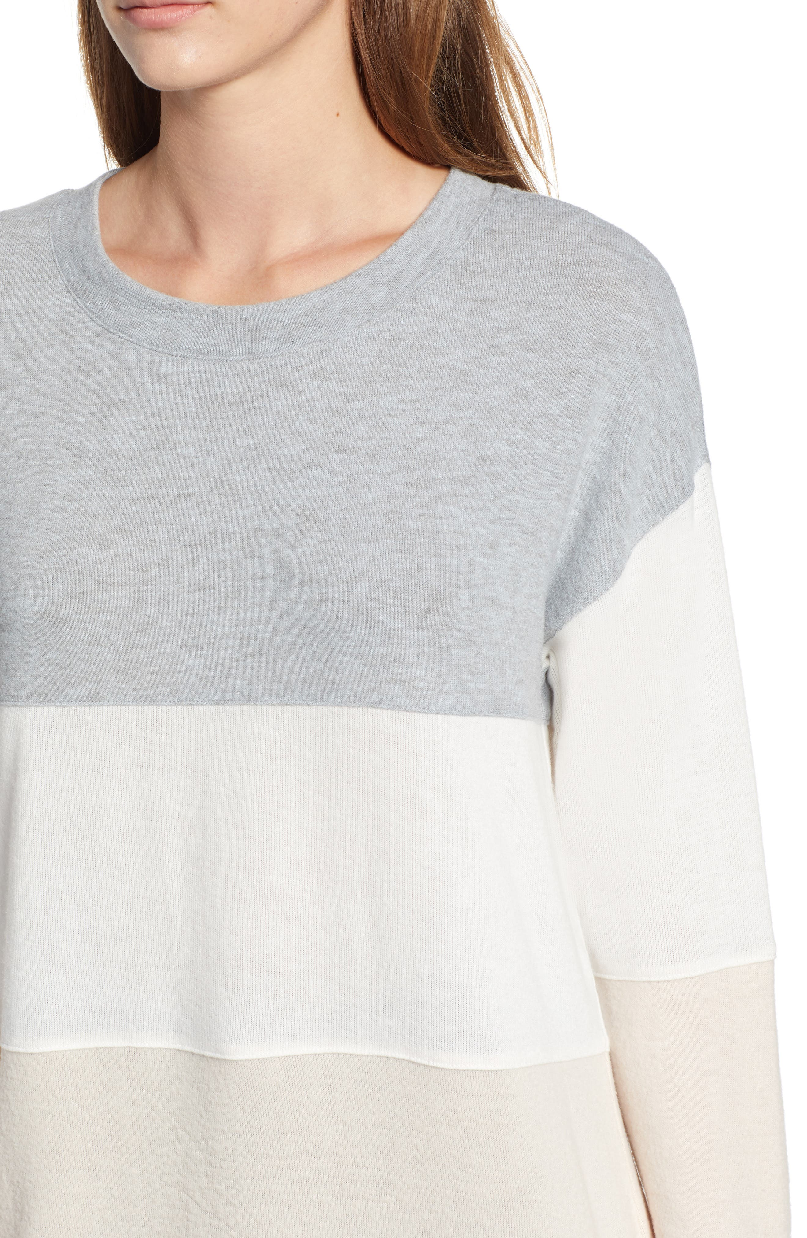 Colorblock Sweatshirt,                             Alternate thumbnail 4, color,                             GREY/ WHITE/ PINK