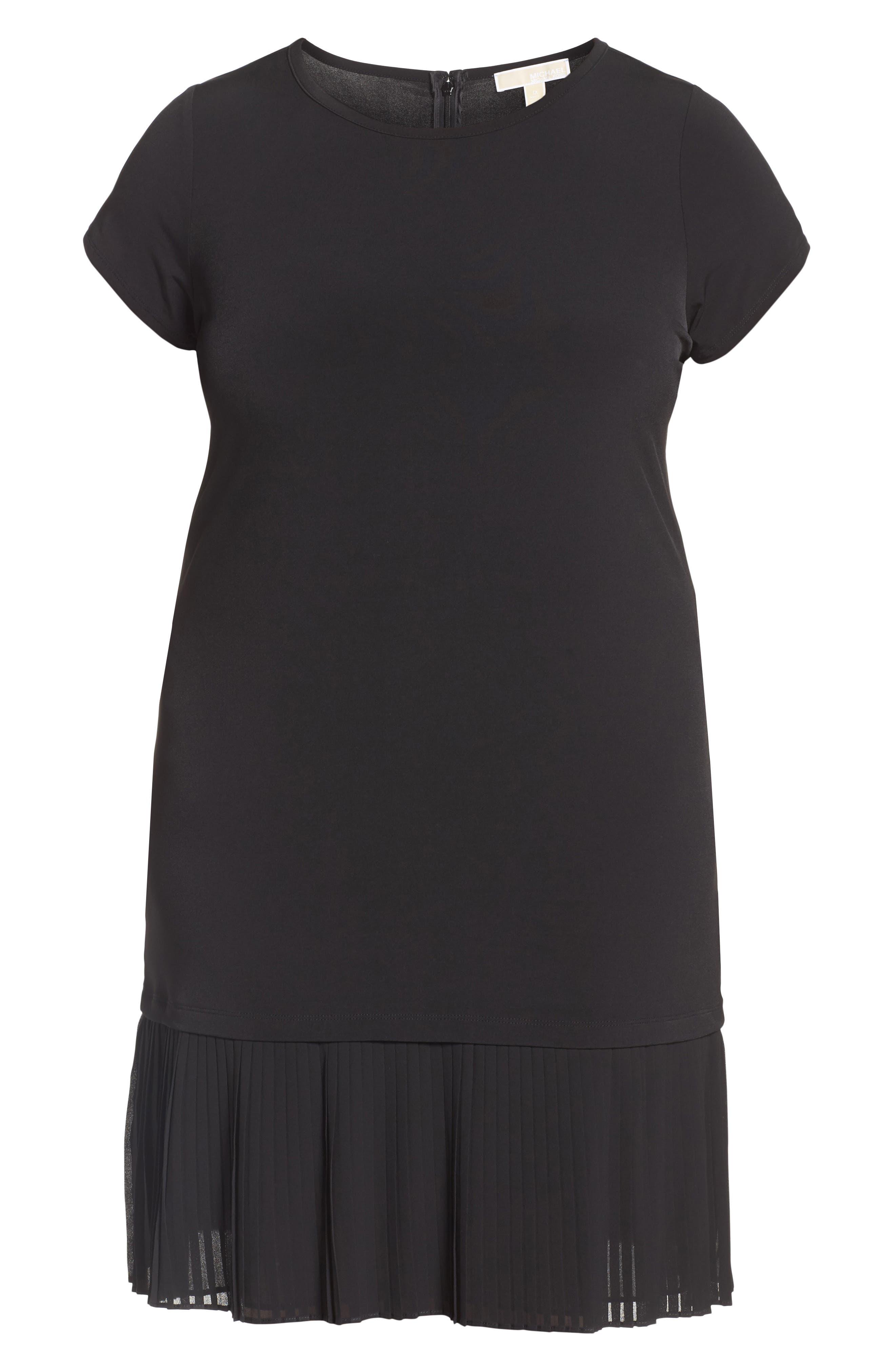 Pleat Chiffon Hem Jersey Dress,                             Alternate thumbnail 7, color,                             BLACK