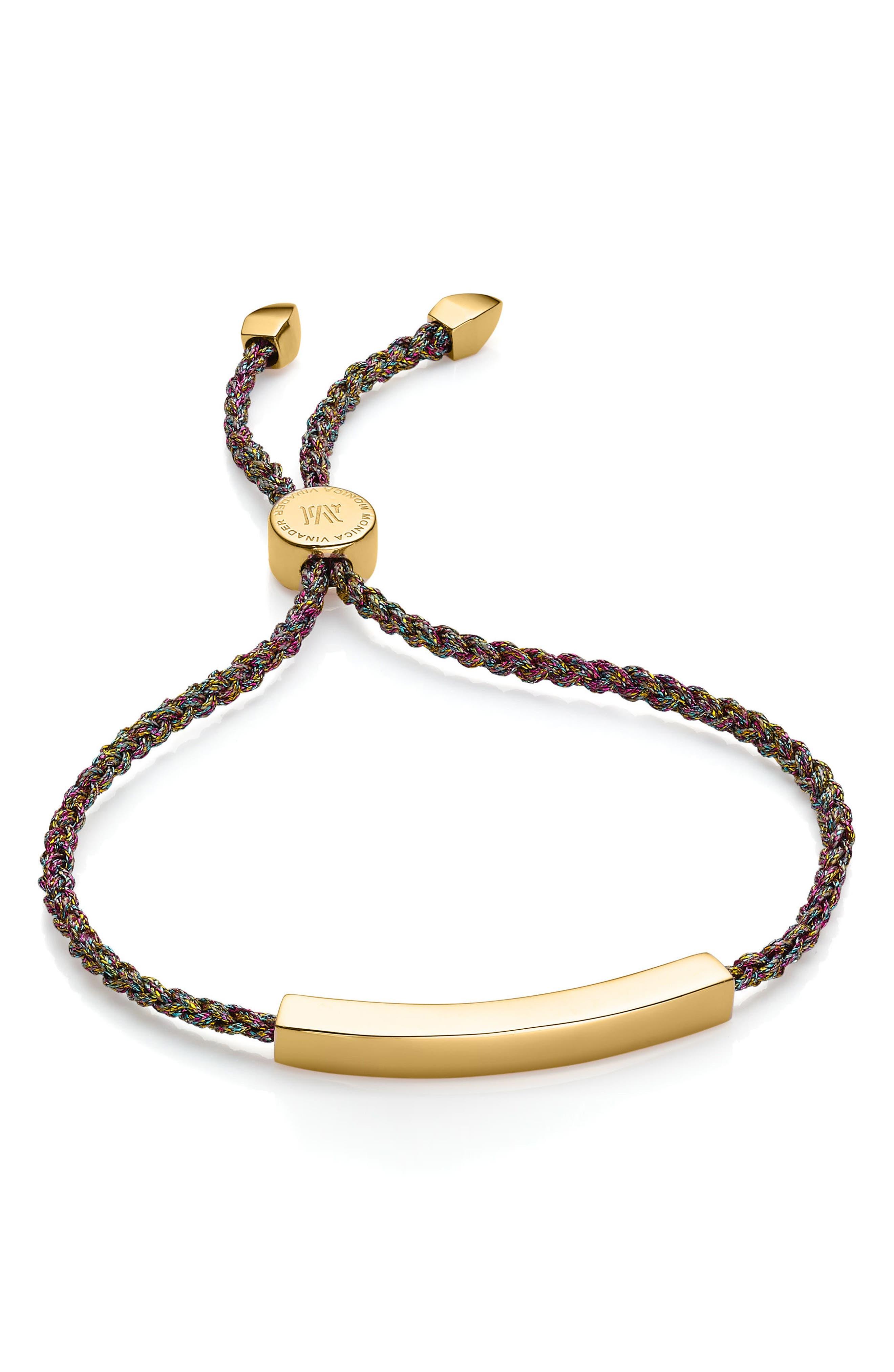 Engravable Linear Bar Friendship Bracelet,                         Main,                         color, GOLD/ RAINBOW
