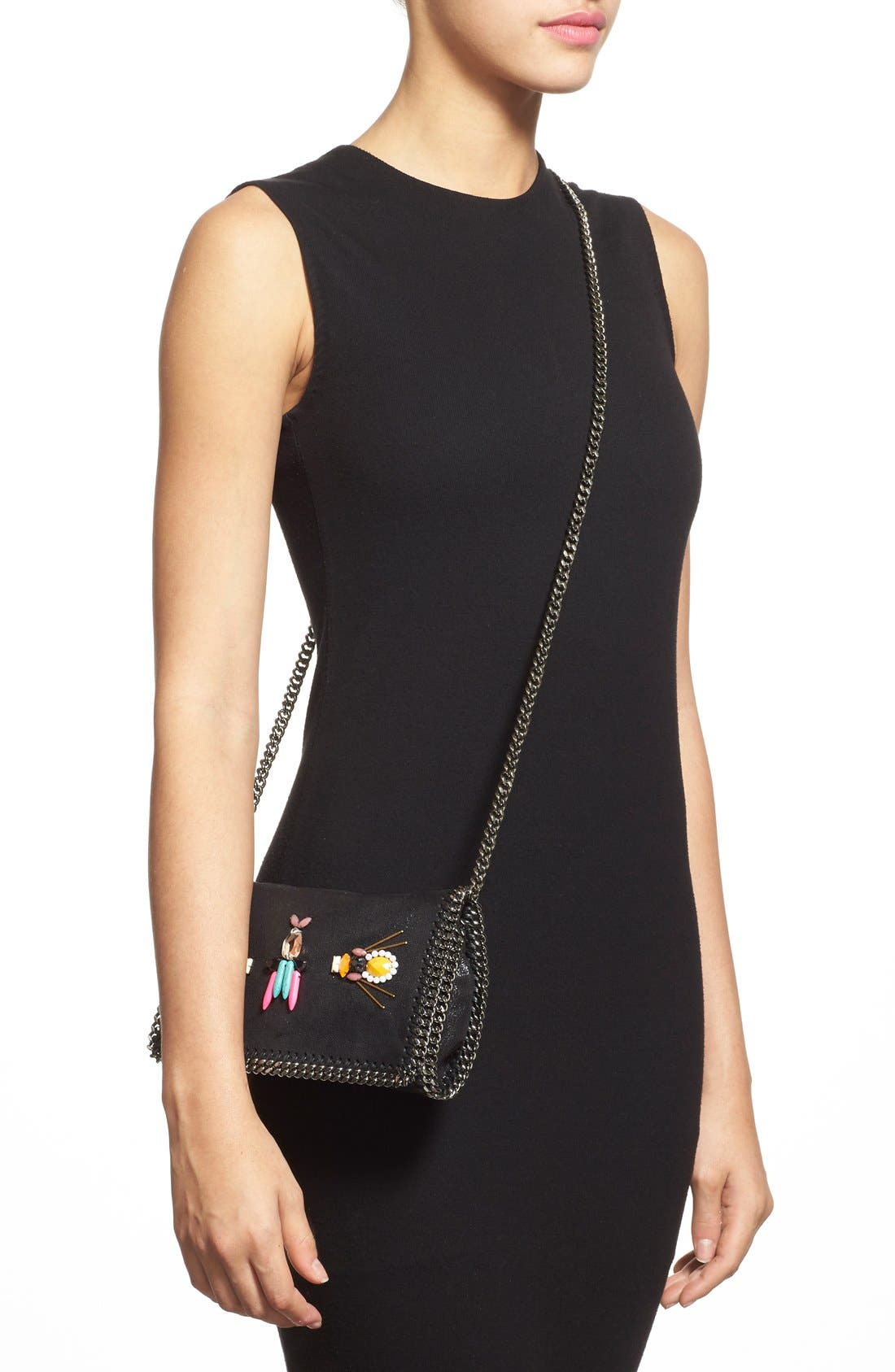 STELLA MCCARTNEY,                             'Falabella Crystal' Embellished Faux Leather Crossbody Bag,                             Alternate thumbnail 6, color,                             001