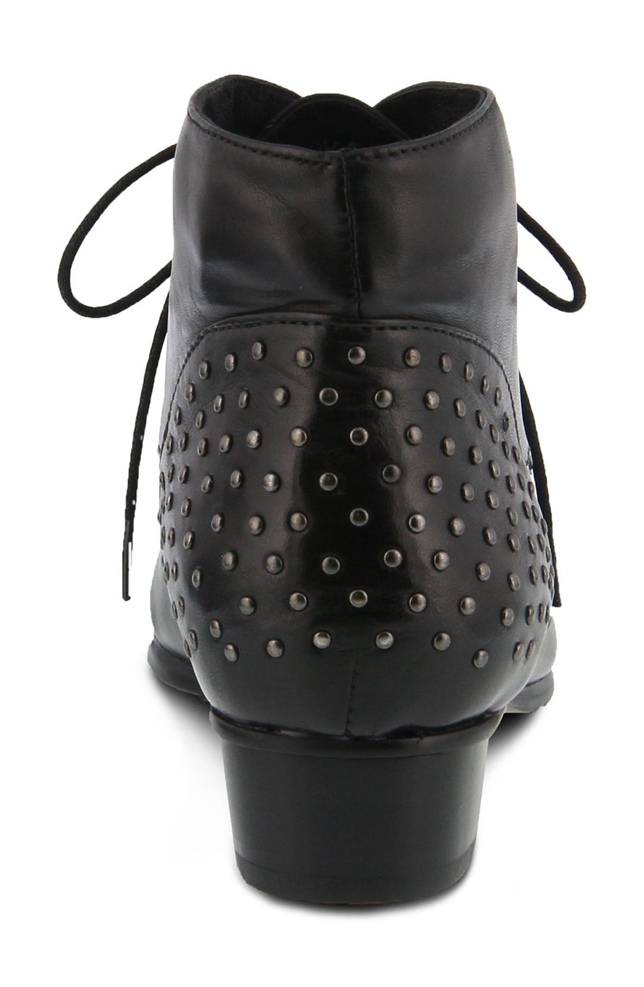 Giovanna Studded Bootie,                             Alternate thumbnail 6, color,                             BLACK LEATHER
