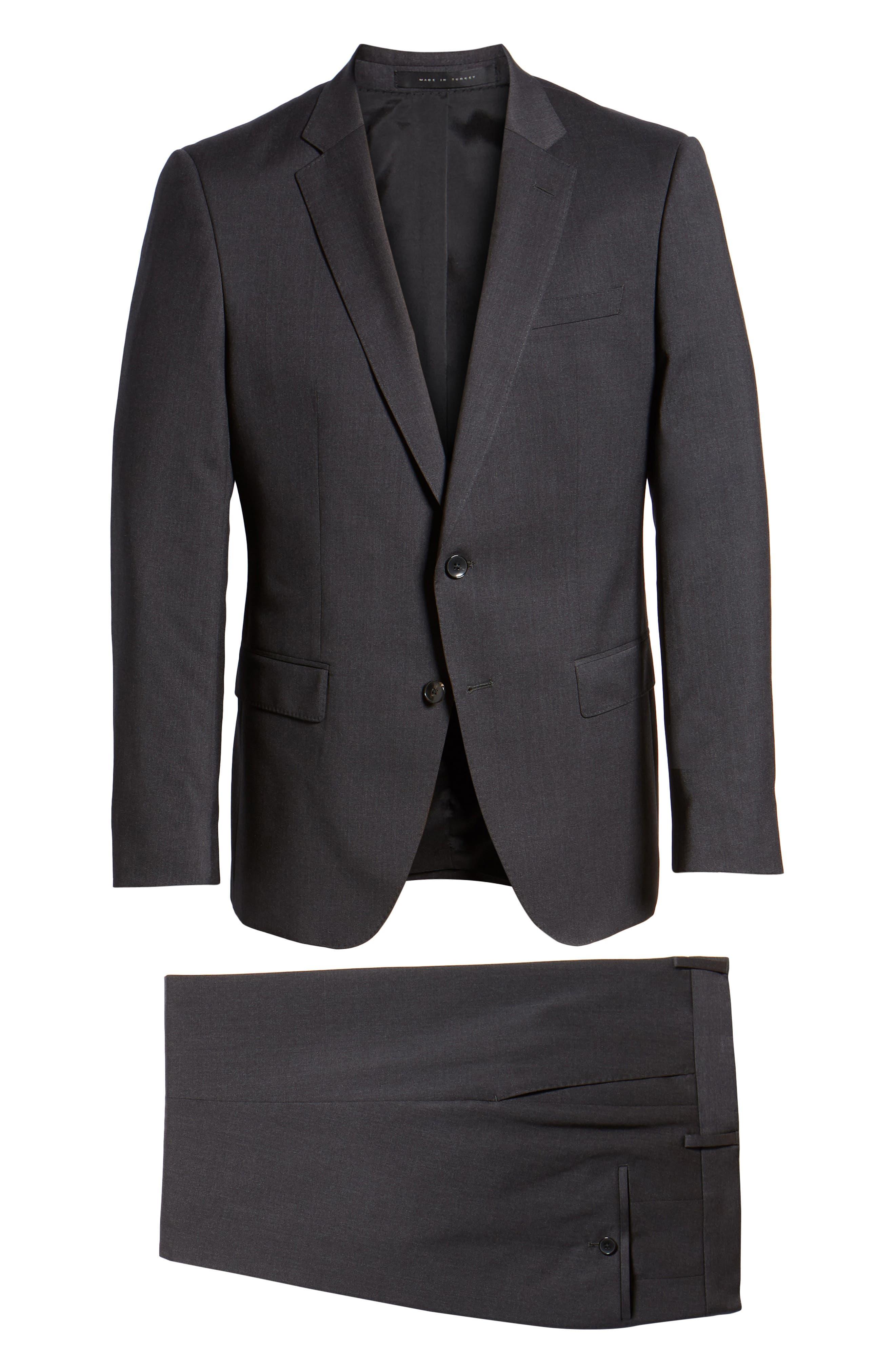 Huge/Genius Trim Fit Solid Wool Suit,                             Alternate thumbnail 8, color,                             DARK GREY