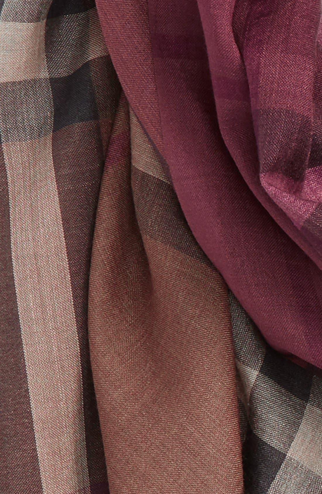 Ombré Check Wool & Silk Scarf,                             Alternate thumbnail 5, color,