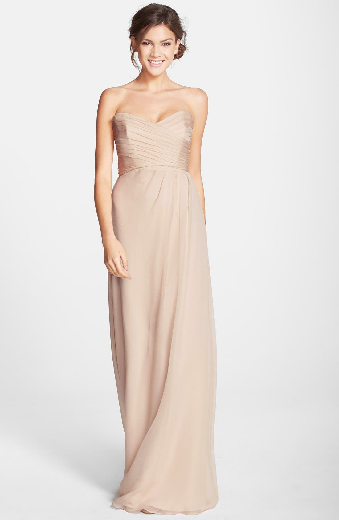 Strapless Crinkle Chiffon Gown,                             Main thumbnail 8, color,