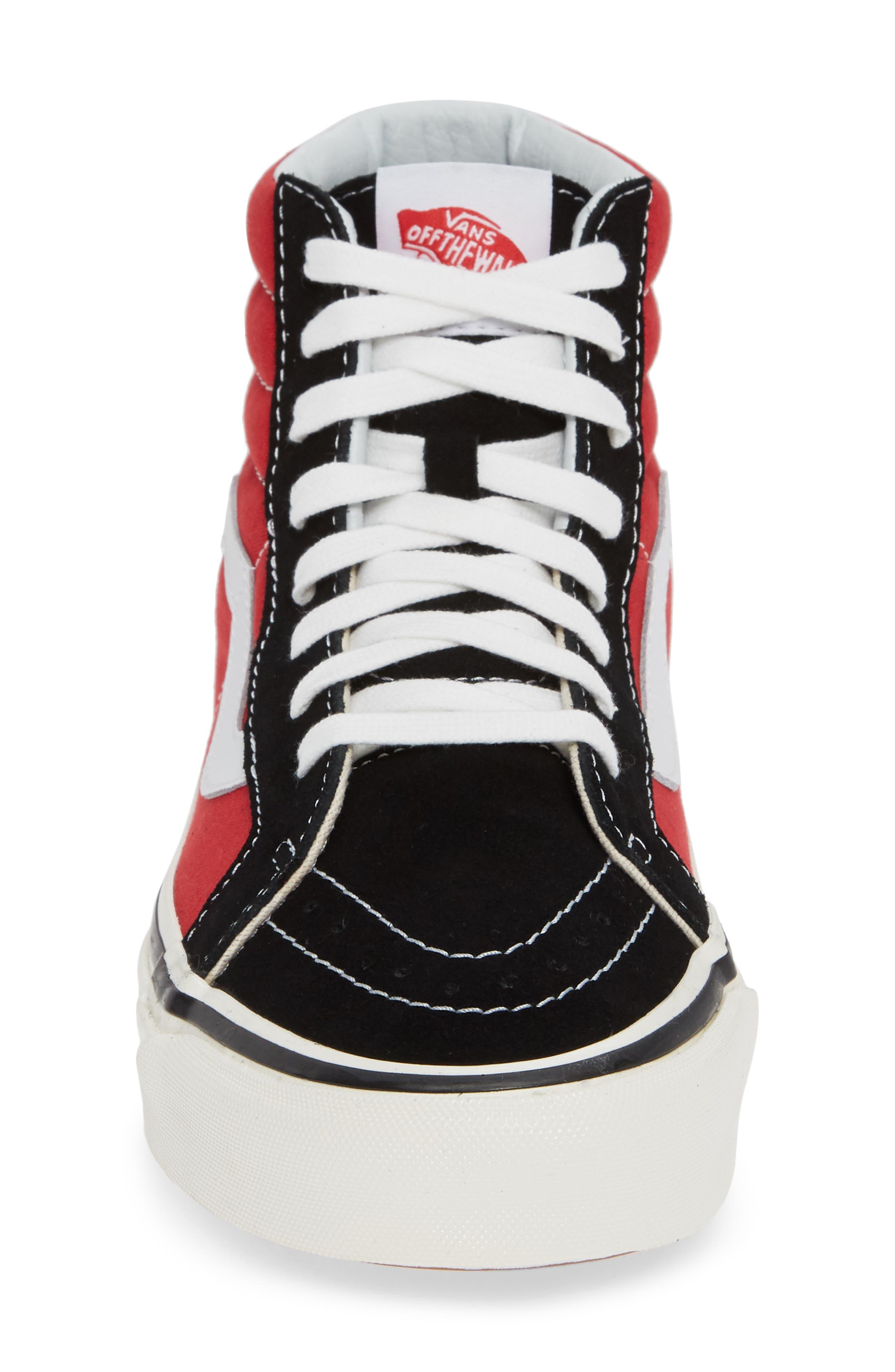 UA Sk8-Hi 38 DX Sneaker,                             Alternate thumbnail 4, color,                             OG BLACK/ OG RED CANVAS