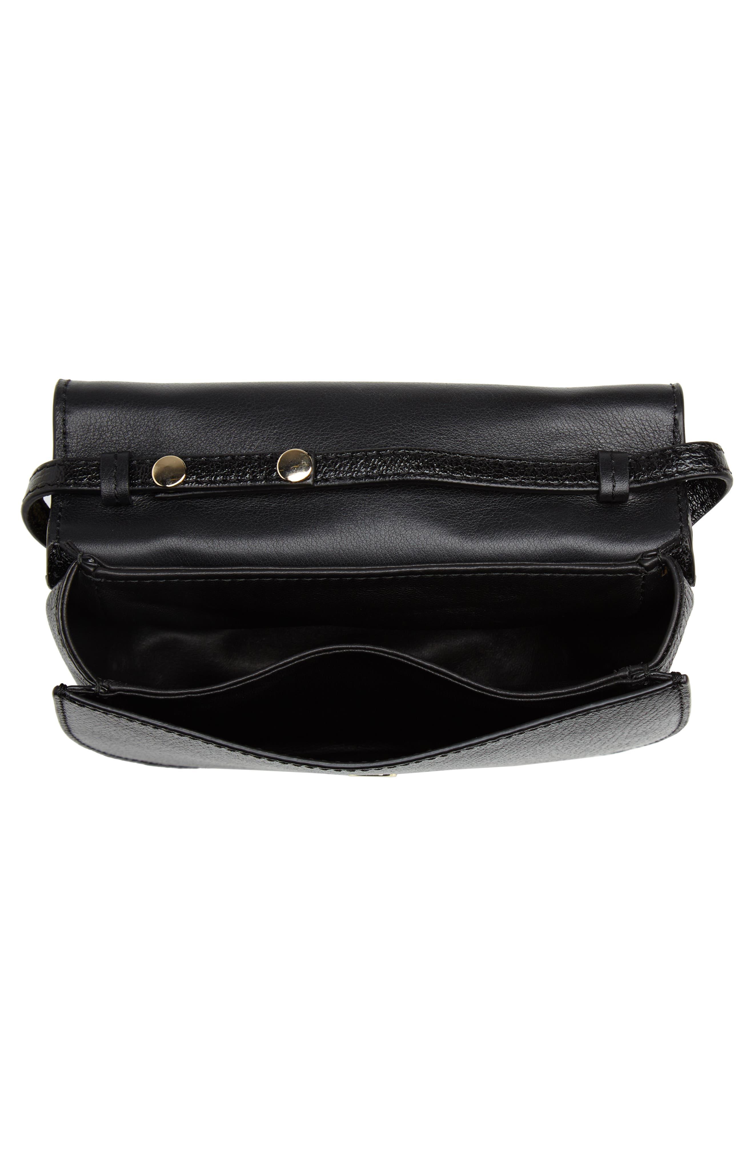 Half Moon Lux Calfskin Leather Crossbody Bag,                             Alternate thumbnail 4, color,                             001